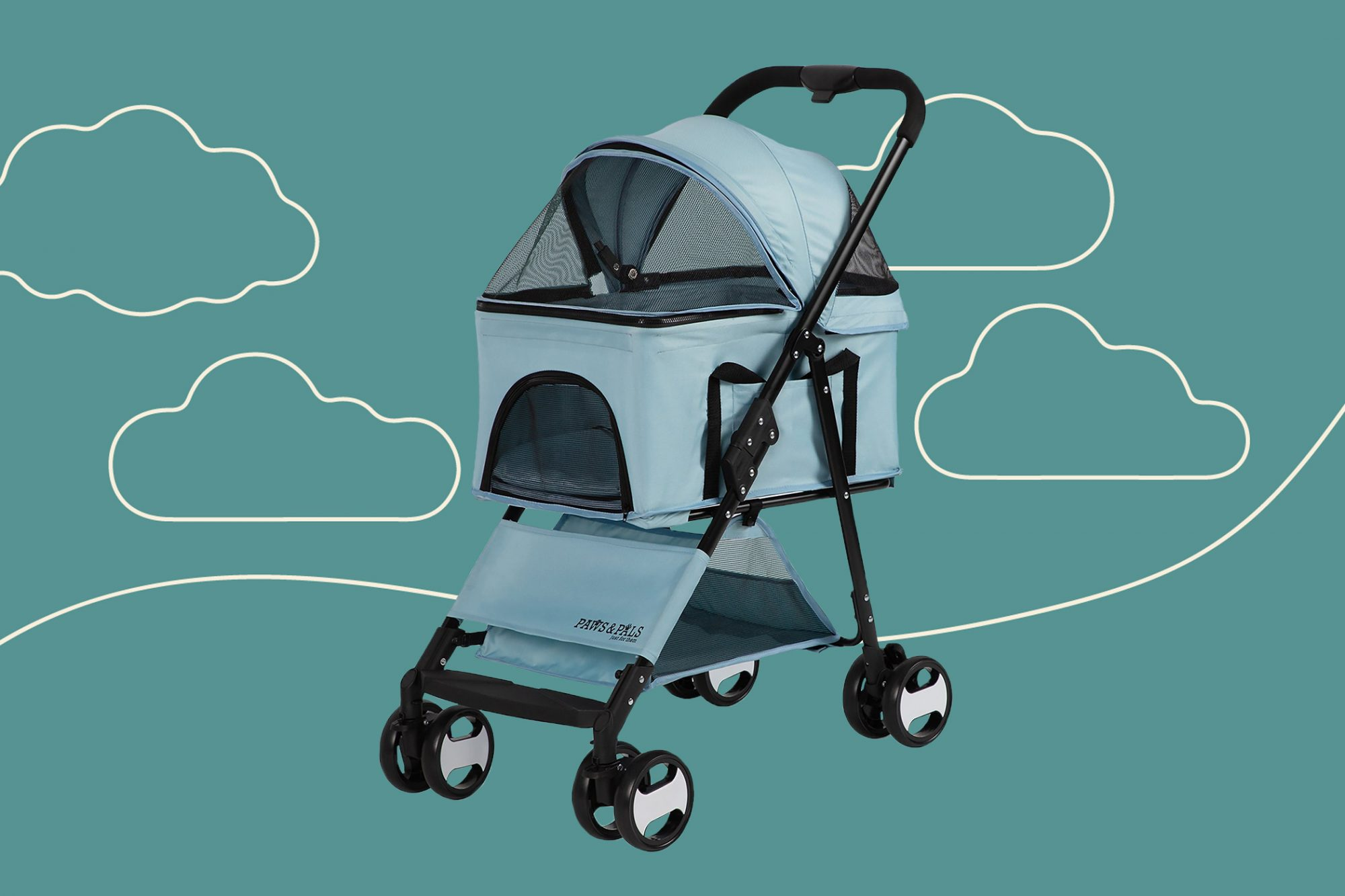 Light blue paws and pals stroller against a turquoise illustration