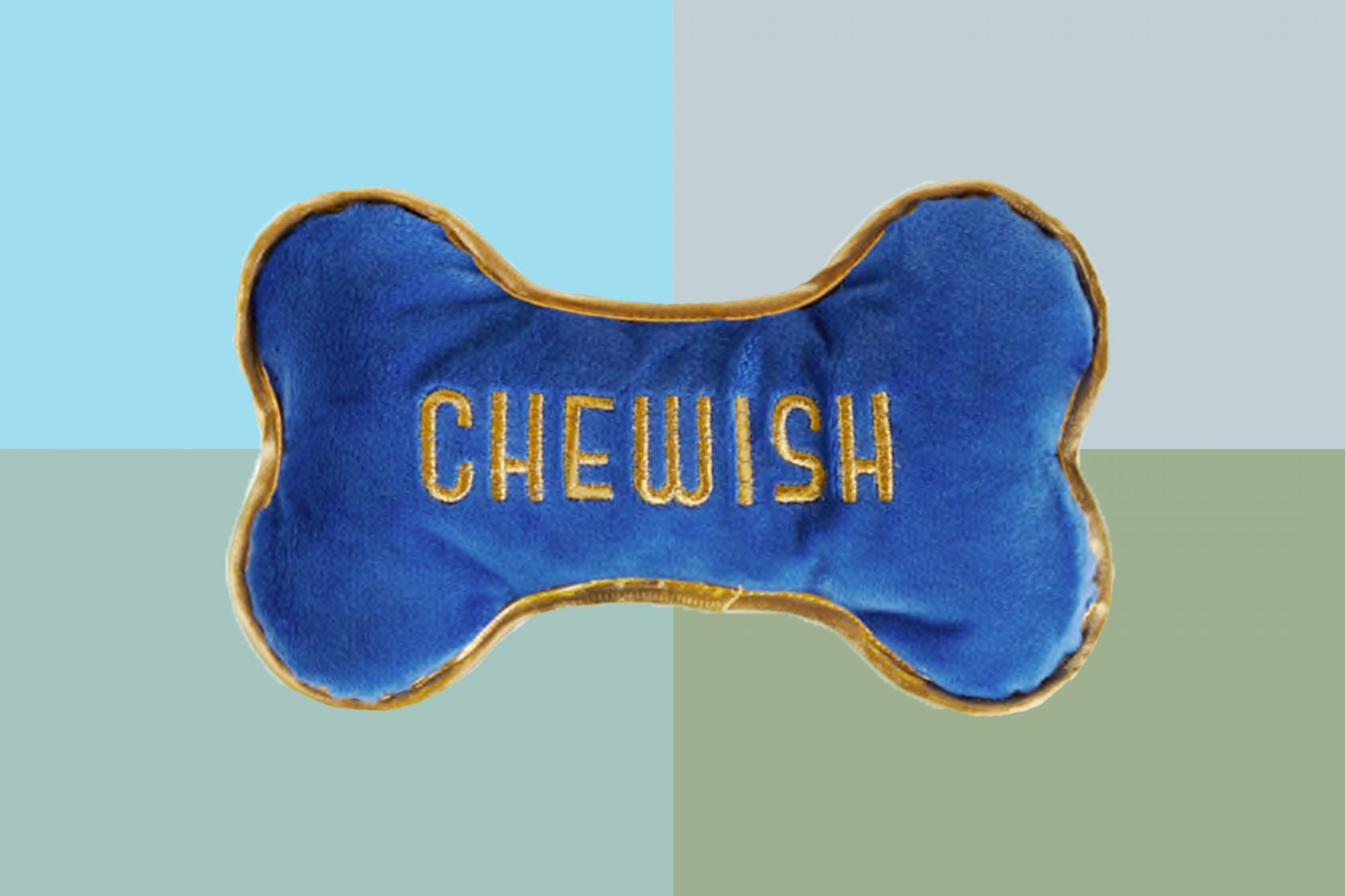 Plushie dog bone with the word Chewish embroidered on the front.