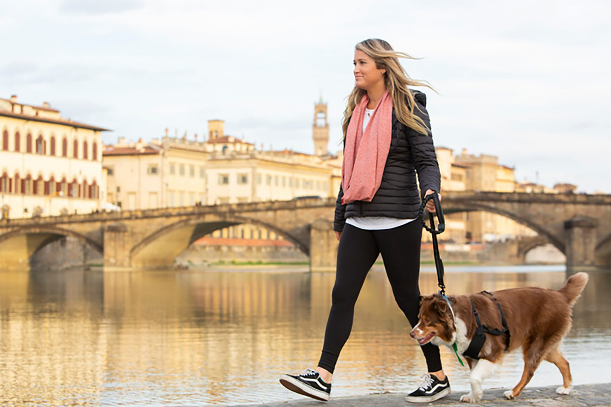 Lucy Riles & Duchess (Teammates & Pack Partners) walking in Florence