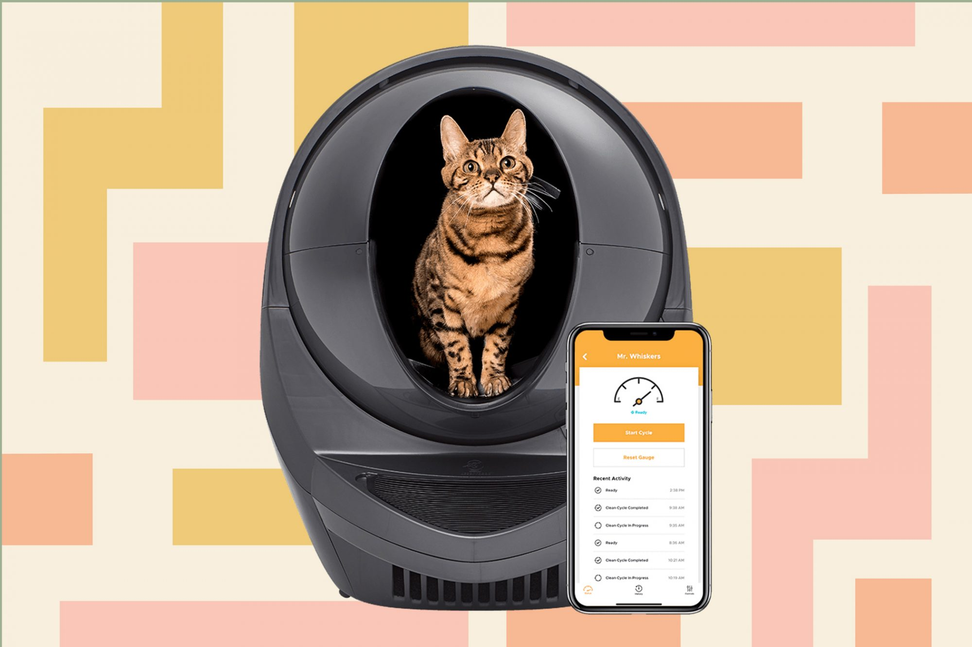 Striped cat sits inside an automatic litterbox that can be paired with smartphone