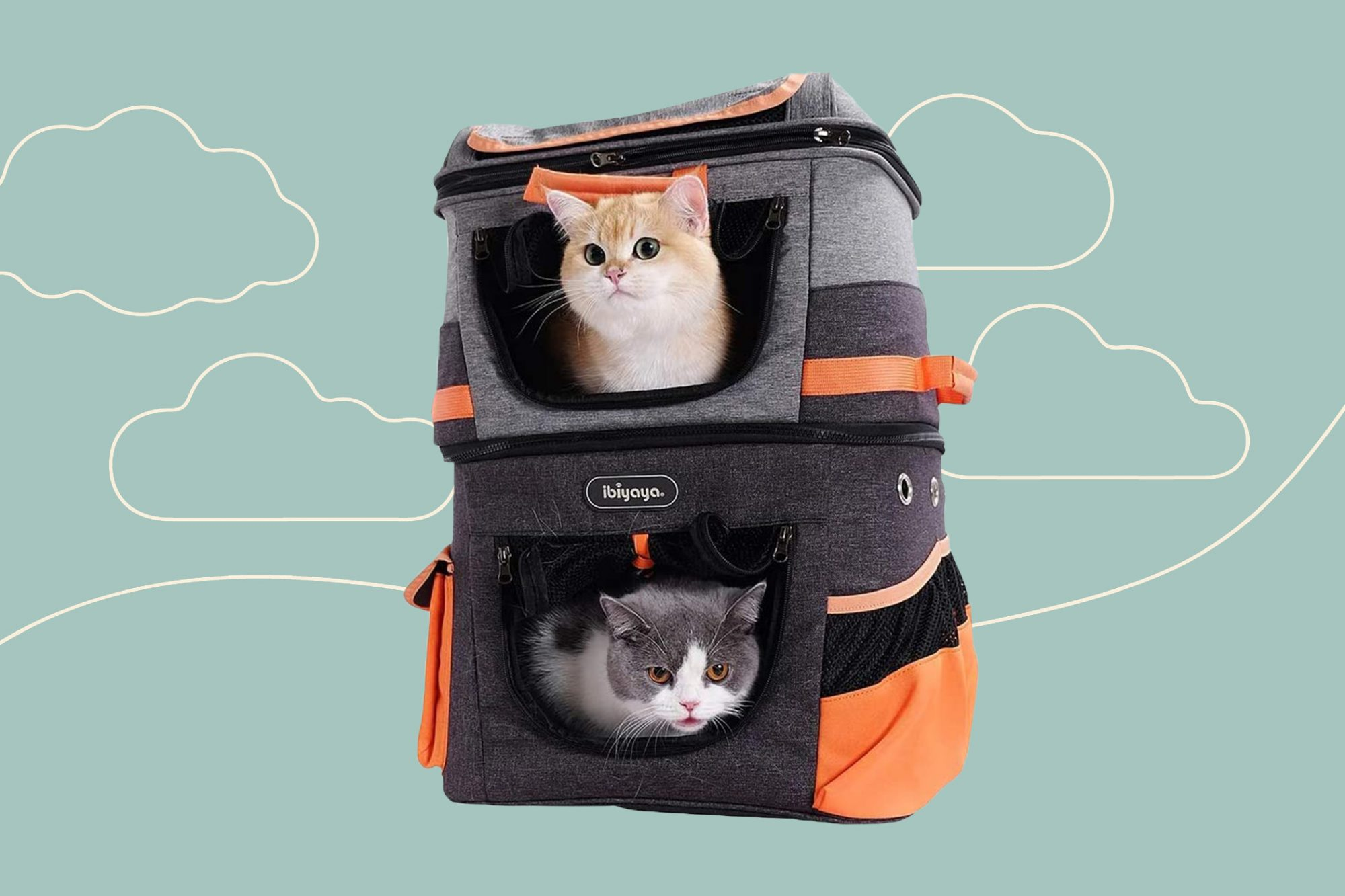 An orange cat and and a white and grey cat sit in the top and bottom of a pet carrier backpack