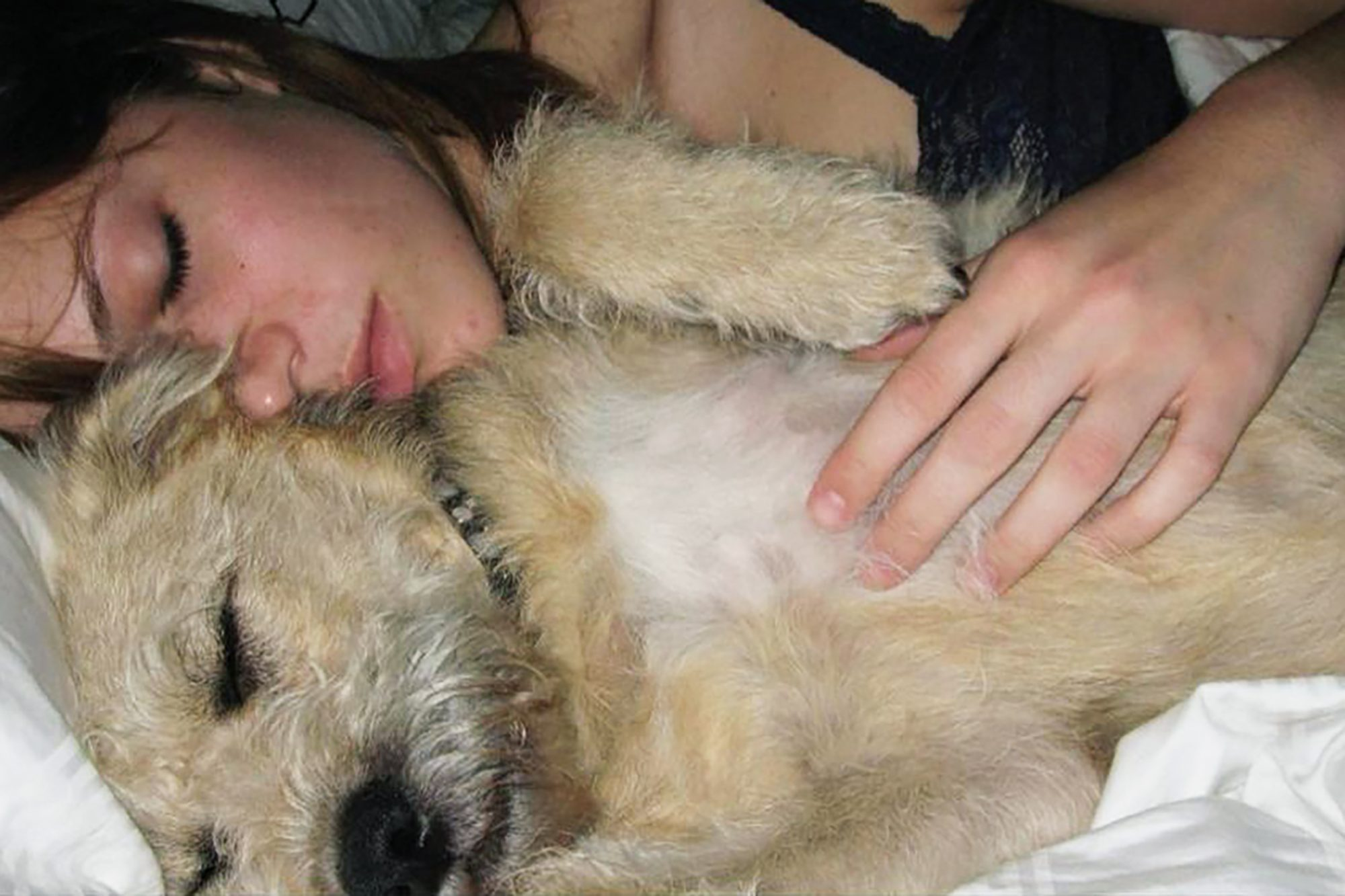 Mandy Moore asleep with her dog