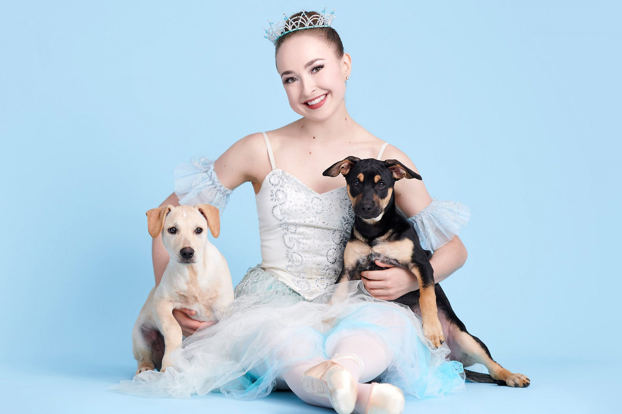 ballerina with two dogs