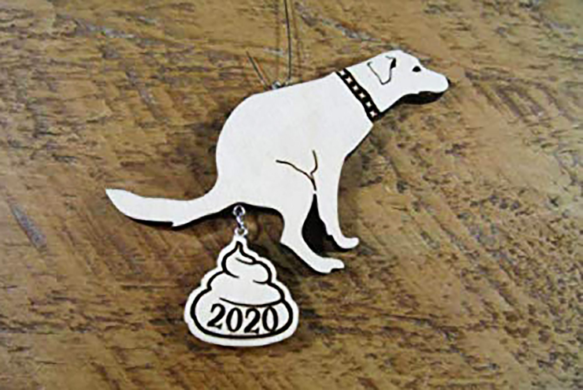 White dog ornament pooping out 2020