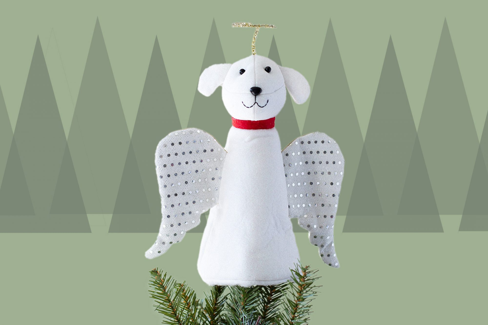White dog tree topper with angel wings