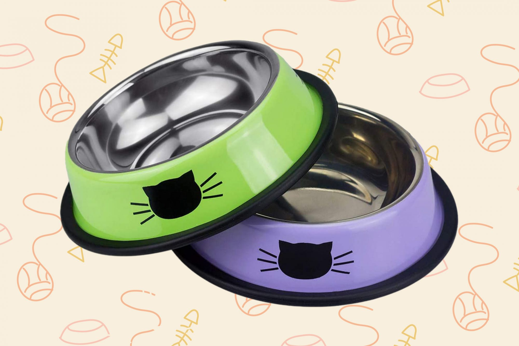Lime green and violet cat bowl pairs with cat decals