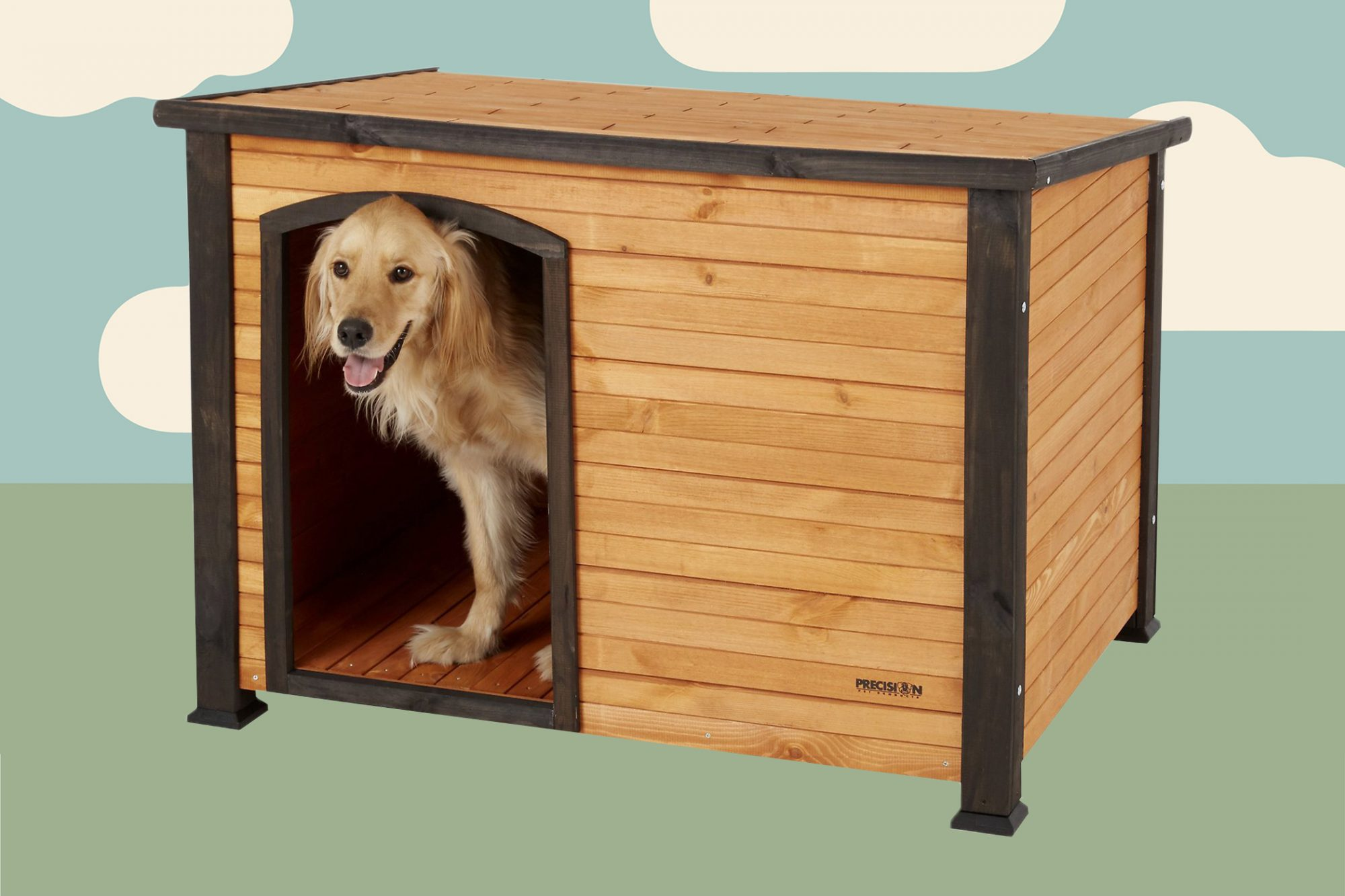 Blonde dog sits happily inside outdoor dog house