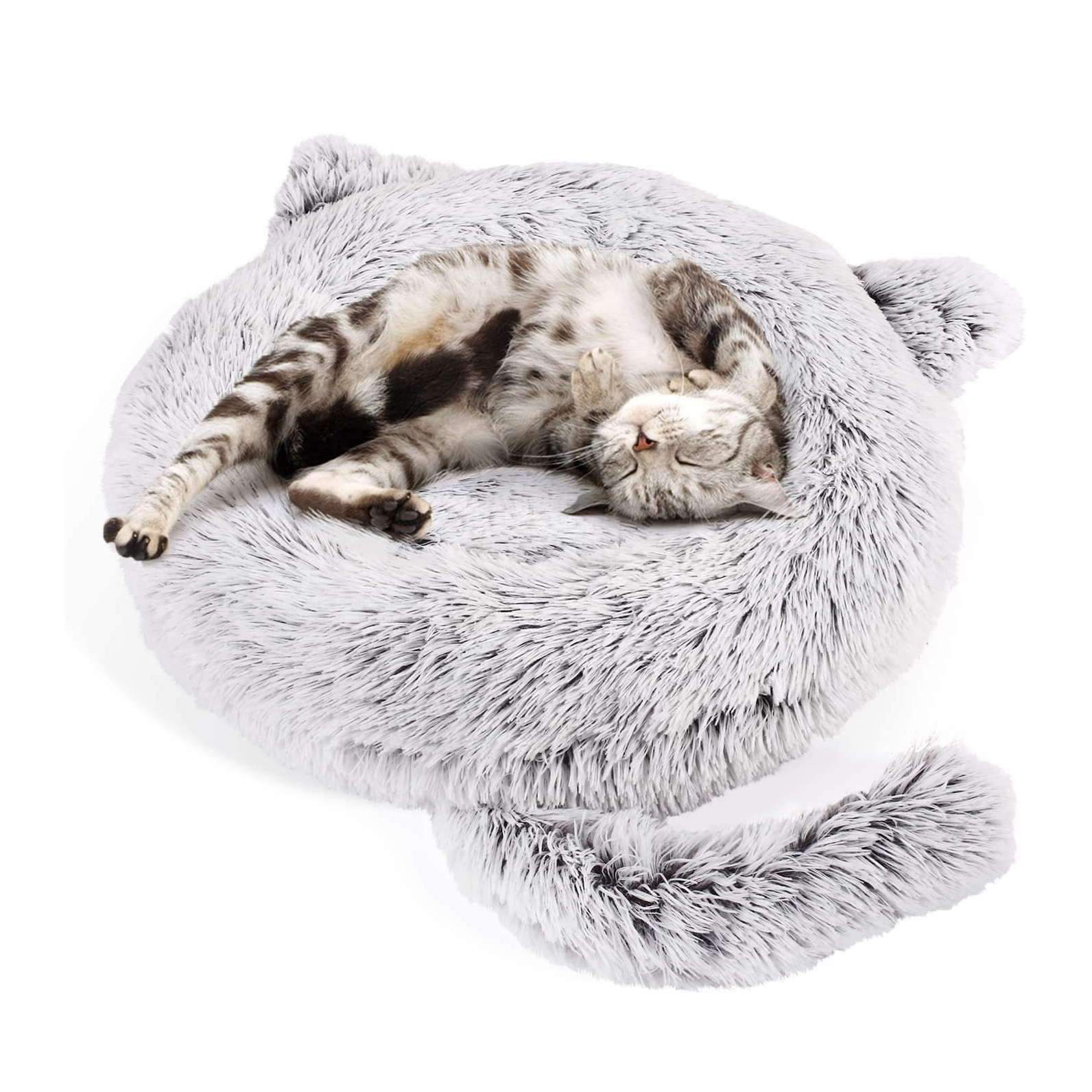 pecute-cat-bed-plush-round-cat-bed