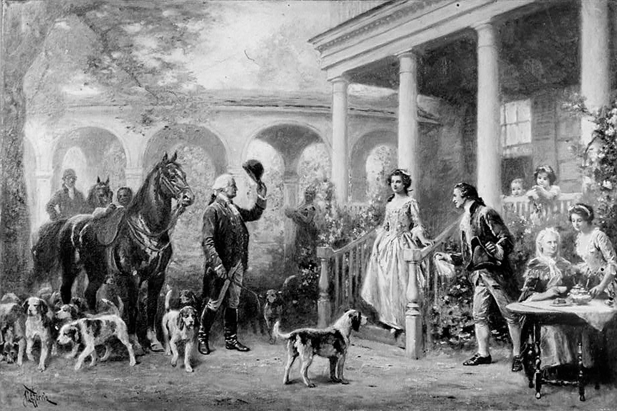 Black and white portrait of George Washington's yard filled with pets