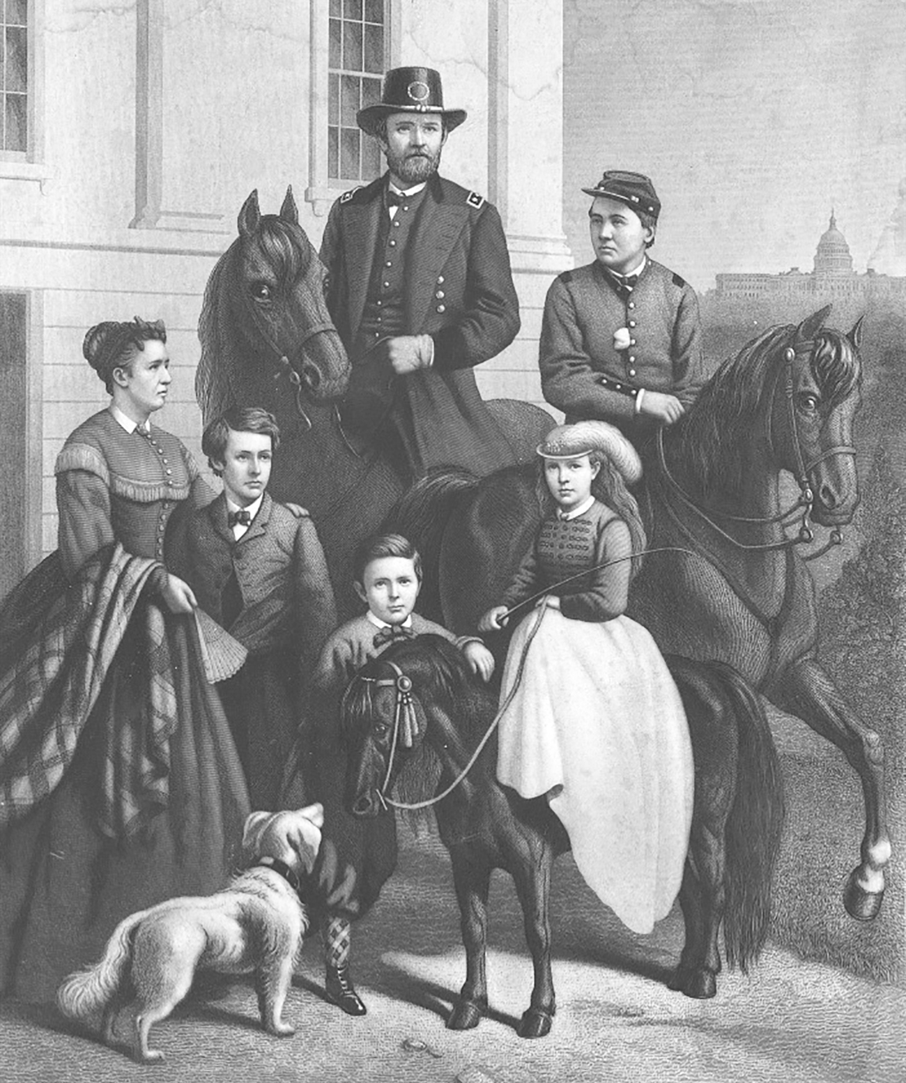 Picture of Ulysses S. Grant and family with their animals