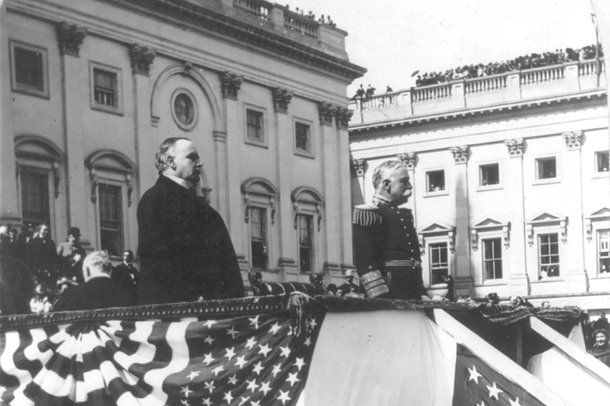 Photograph of William McKinley in front of a crowd
