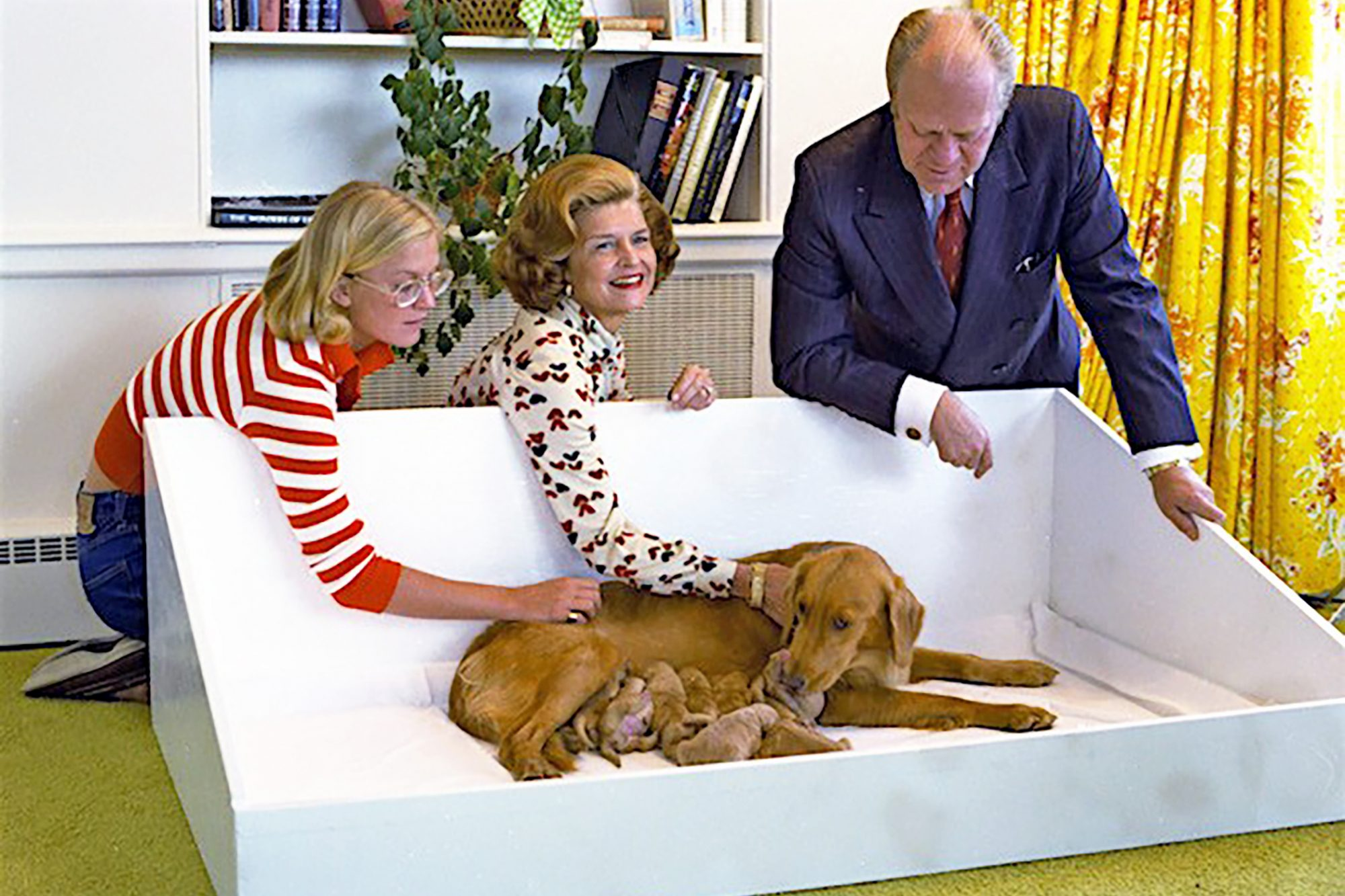 Photograph of Gerald Ford and family looking over family dog who is nursing puppies