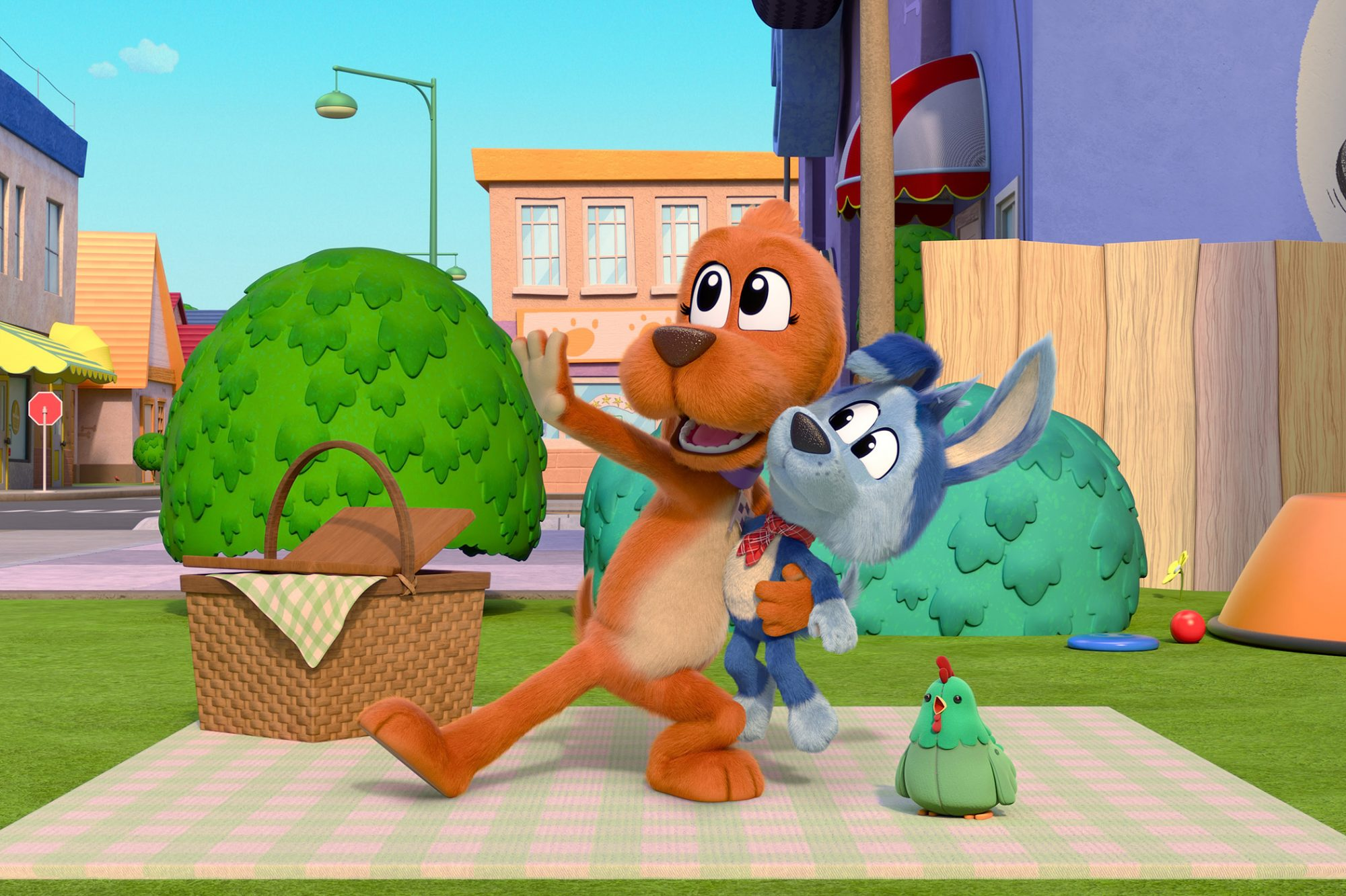 Screen capture from tv show Go Dog Go of two dogs on a picnic