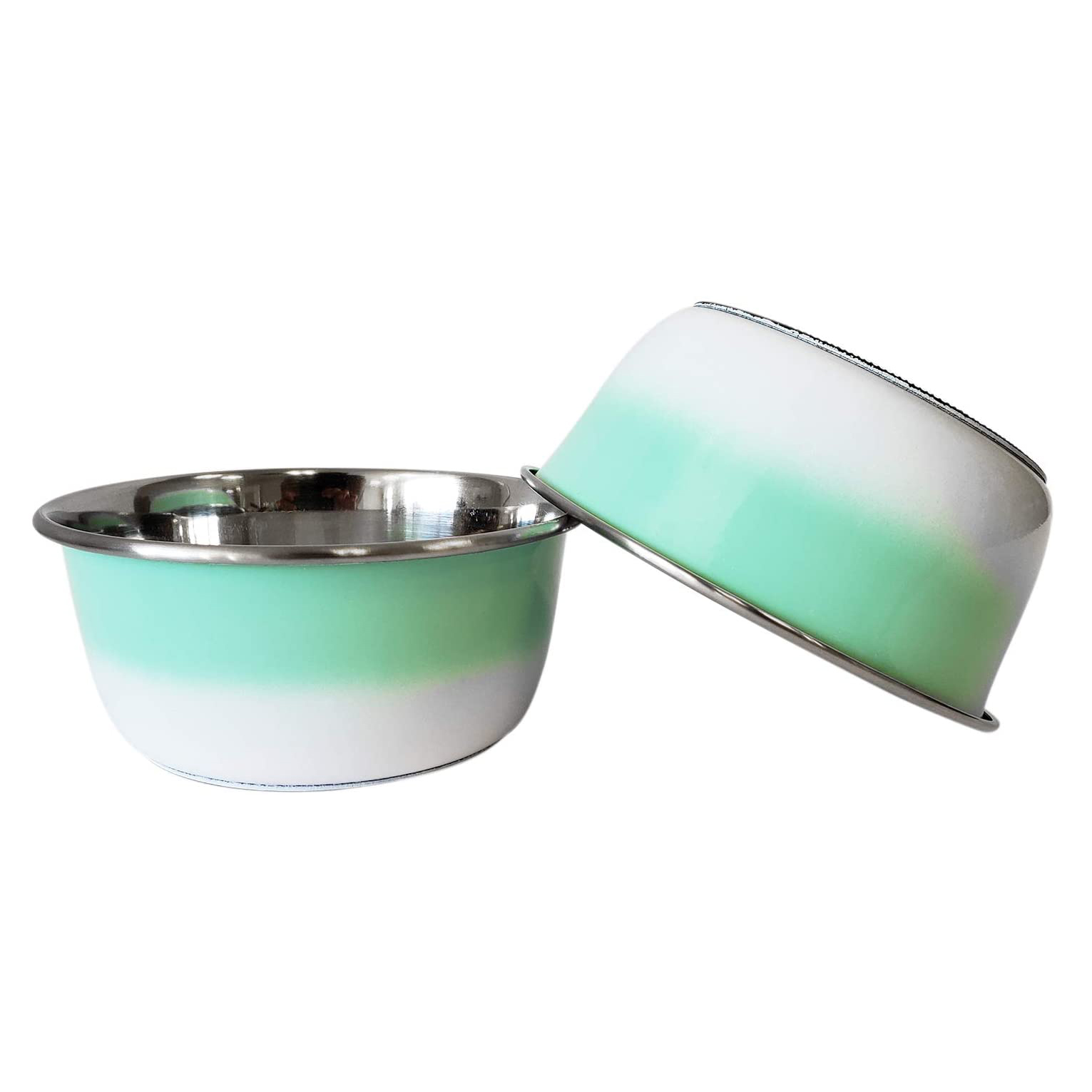 american-pet-supplies-set-of-2-deep-colored-stainless-steel-dog-bowls