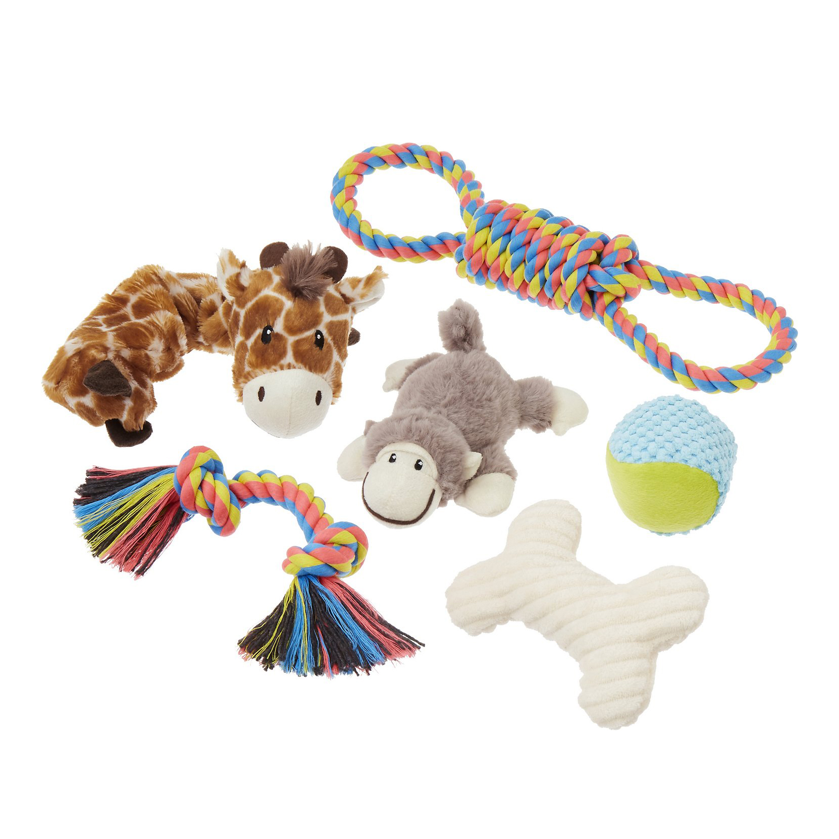 frisco-jungle-pals-plush-and-rope-variety-pack-dog-toy-6-count