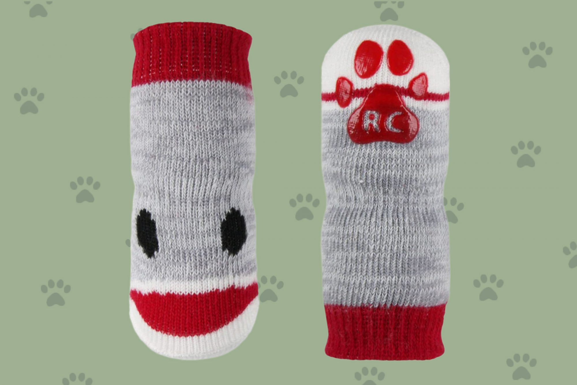 Product photo of doggy socks in the style of sock monkeys