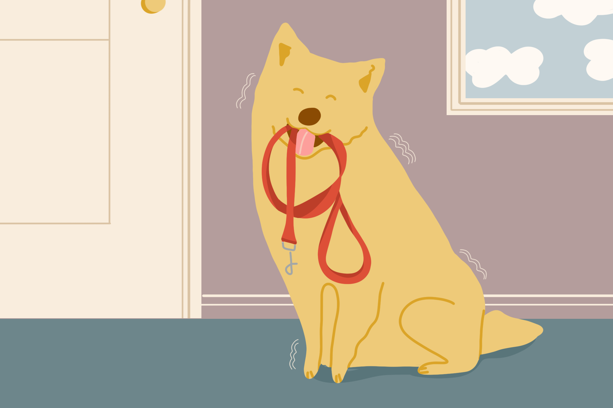 Illustration of blond dog happily shaking with leash in mouth
