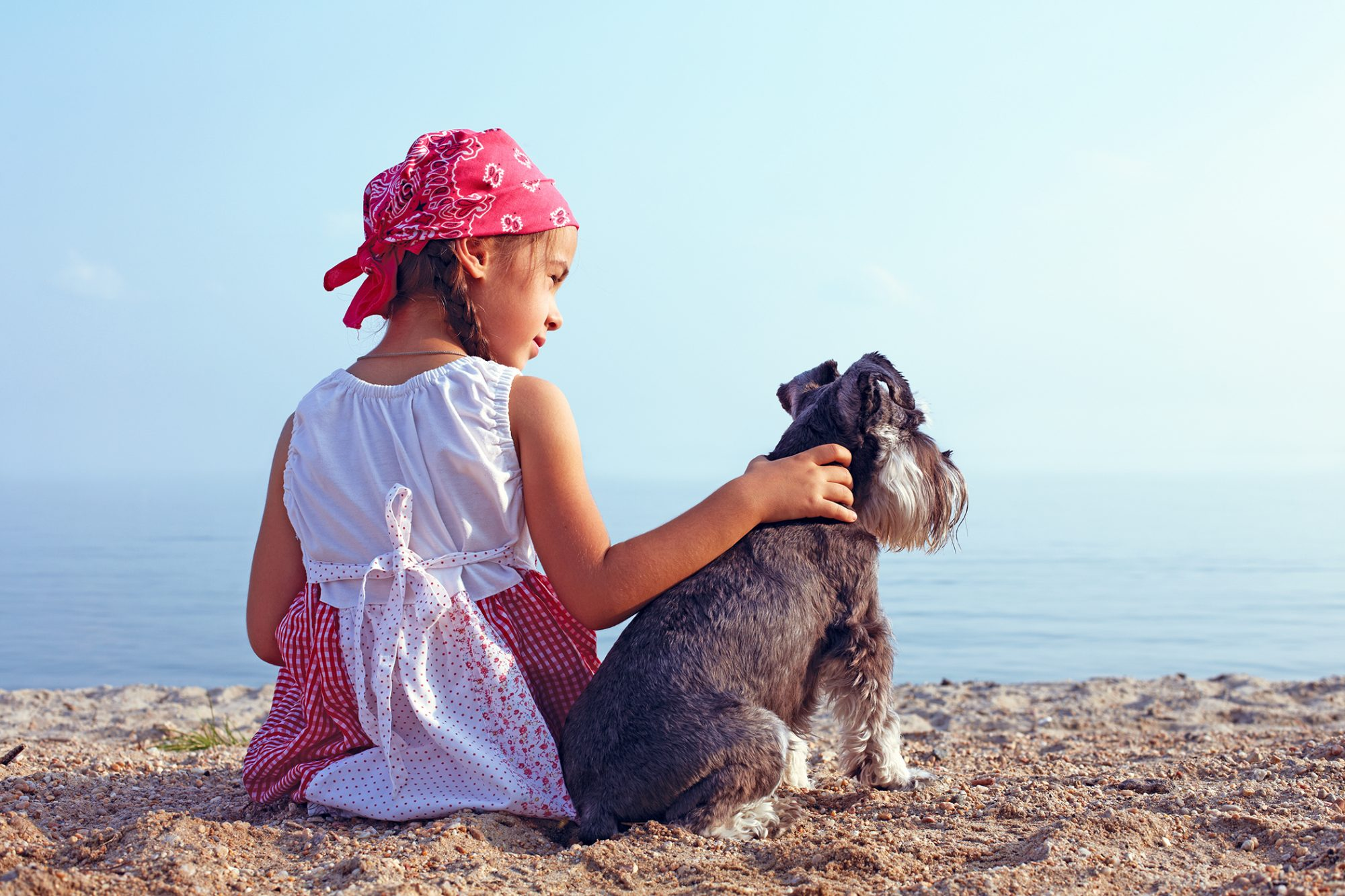 Girl sits with terrier on beach