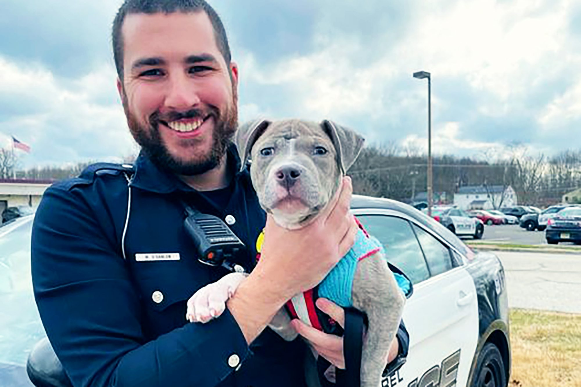 police officer holding his newly adopted pit bull puppy