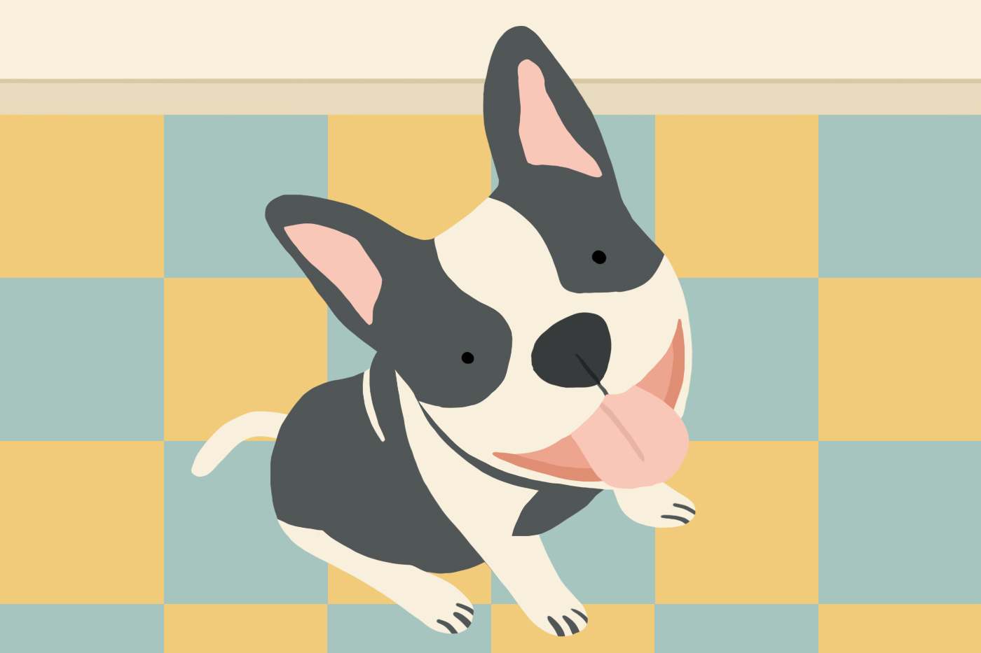 happy dog looking up illustration