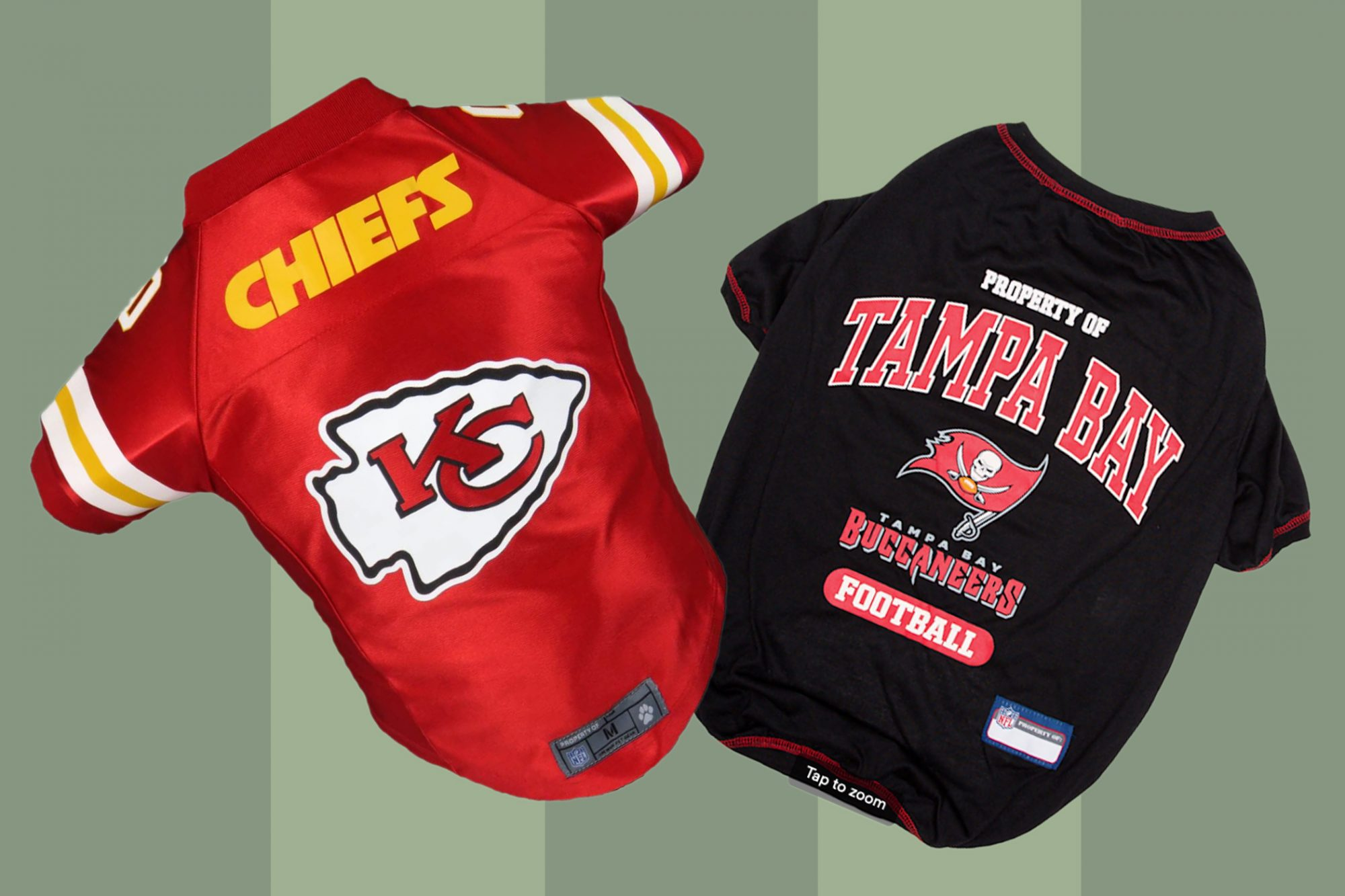 Chiefs and Buccaneers dog jerseys