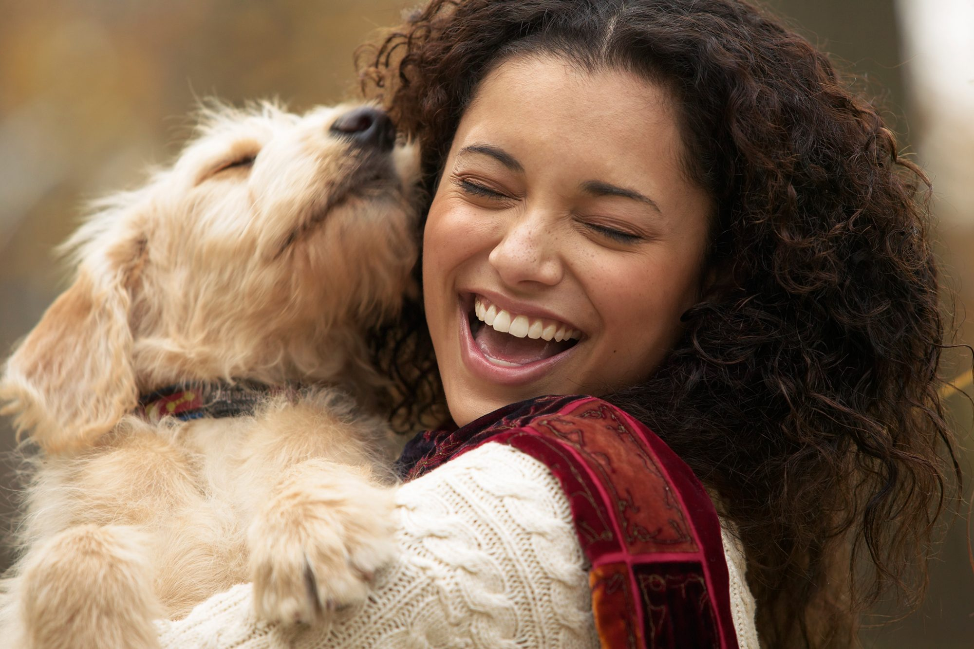 cute dog giving kisses to happy woman