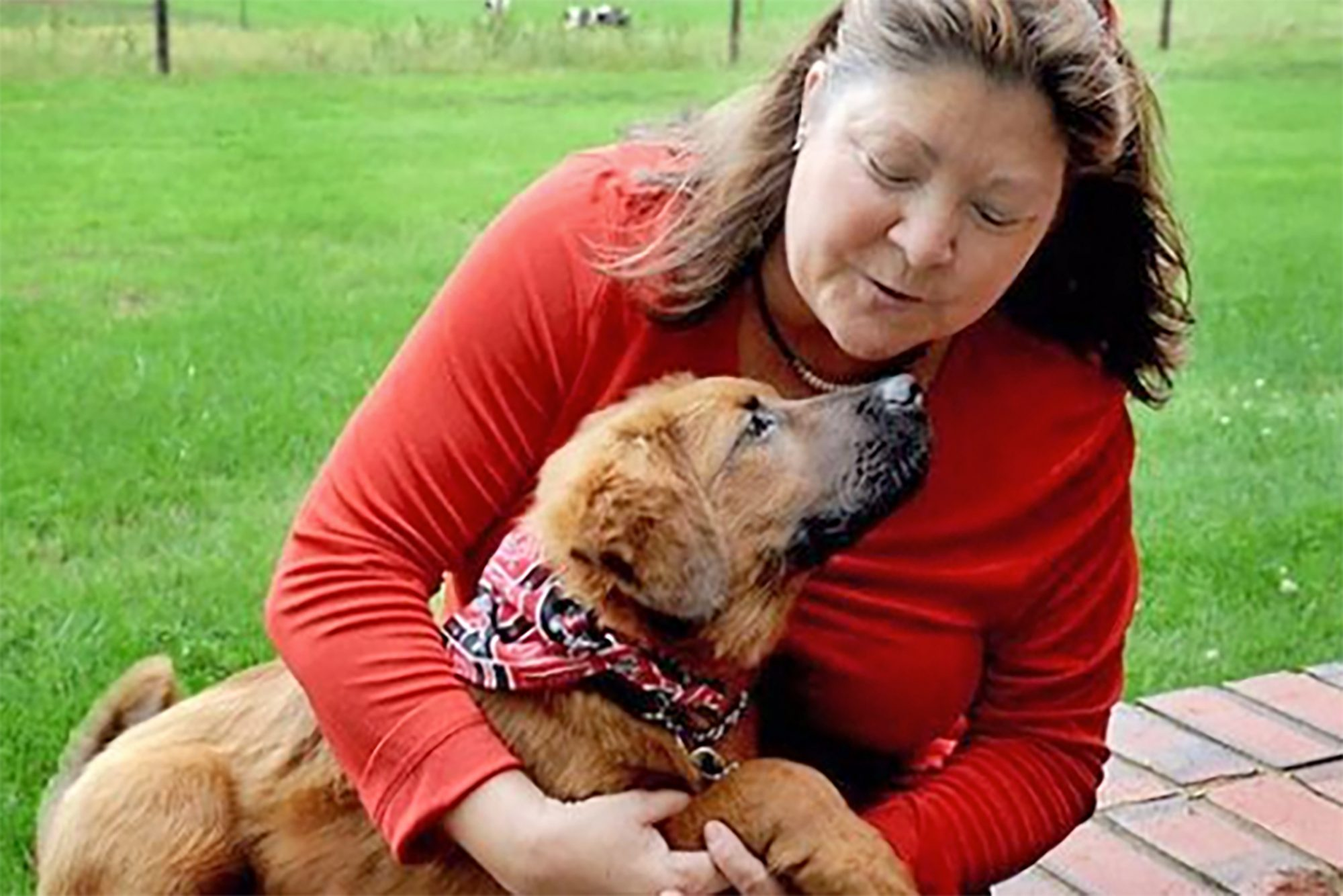 Woman holds dog in arms outdoors