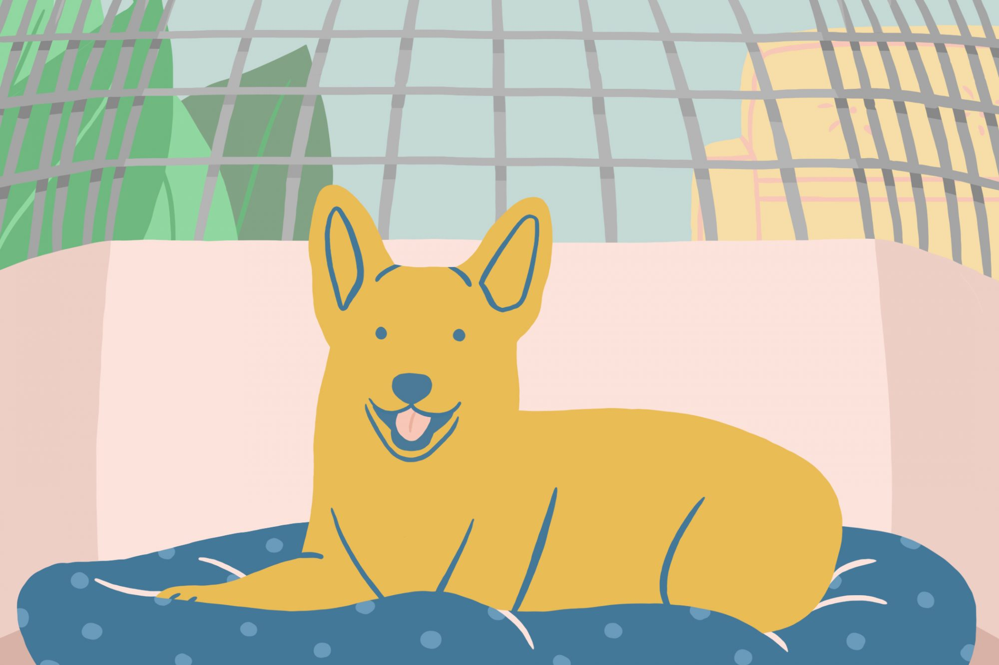 illustration of happy dog in his crate