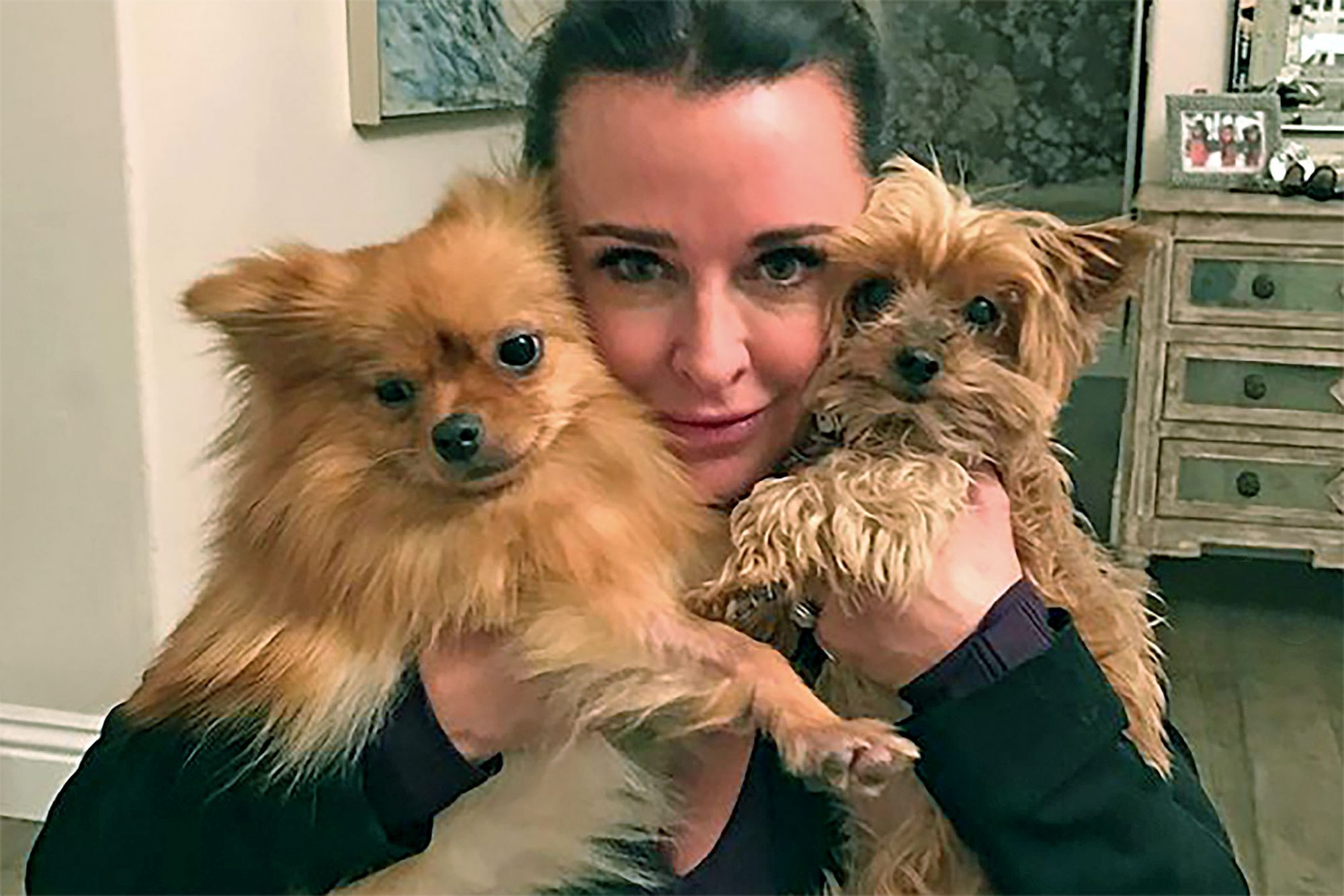 Kyle Richards with two of her dogs