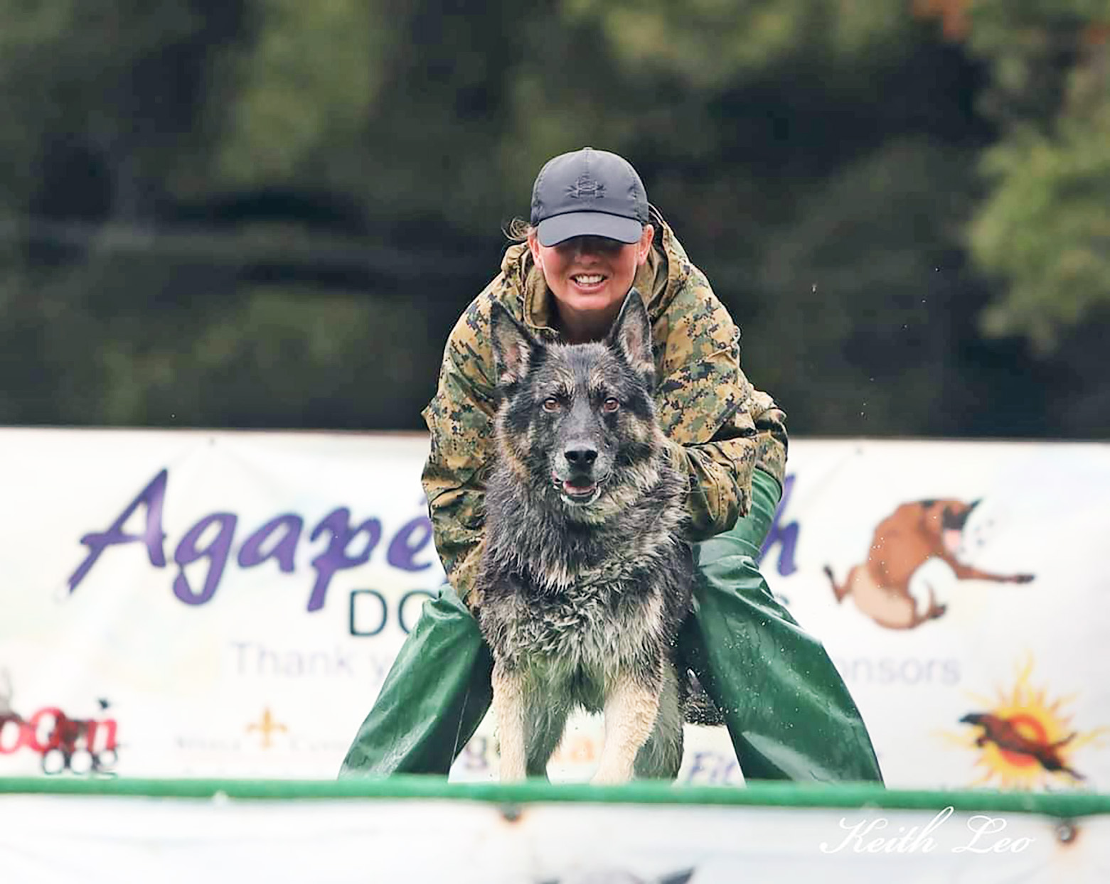 Krystal Tronboll and military working dog Zorro dock diving