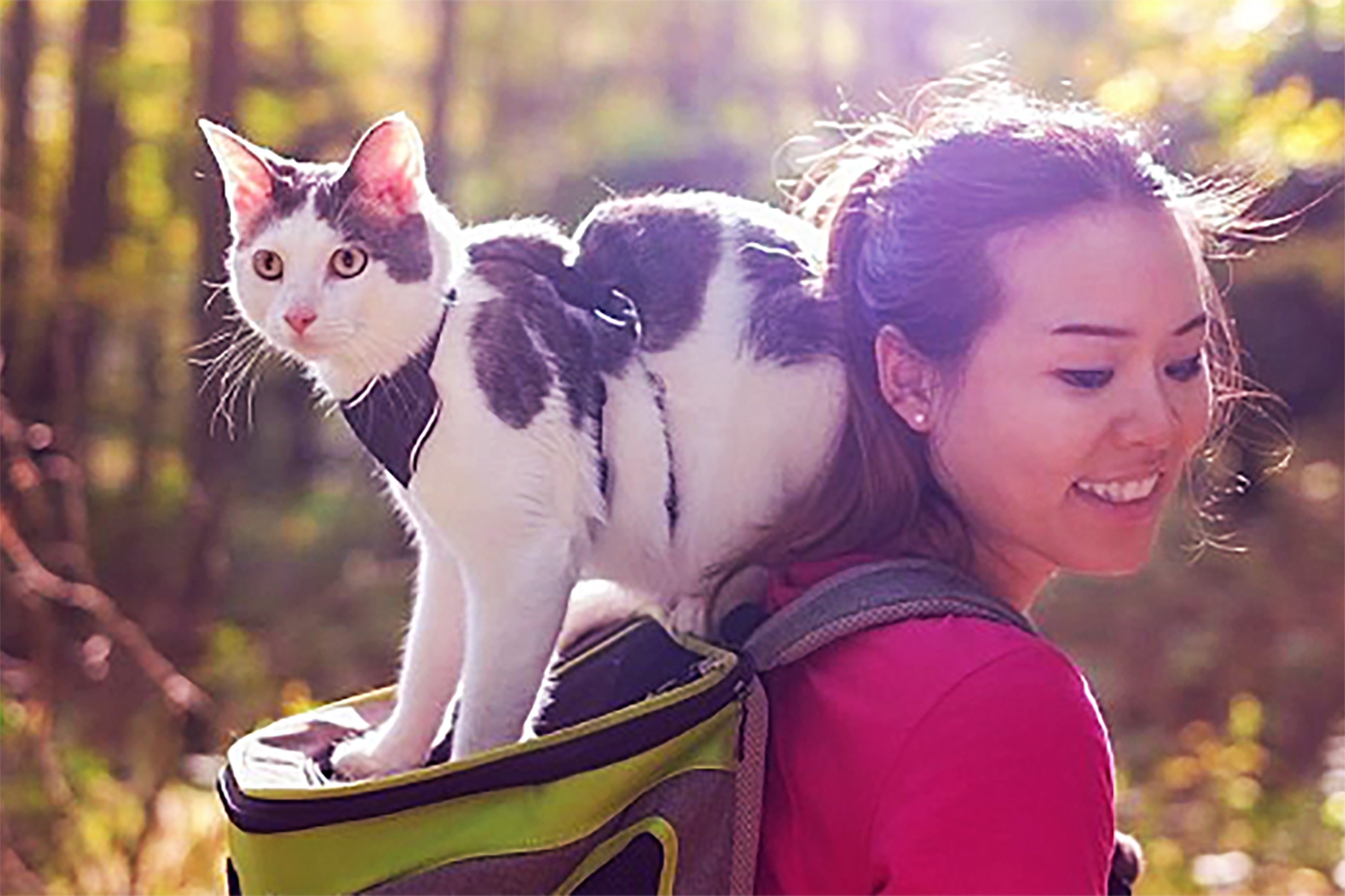 Woman with backpack and white spotted cat on backpack