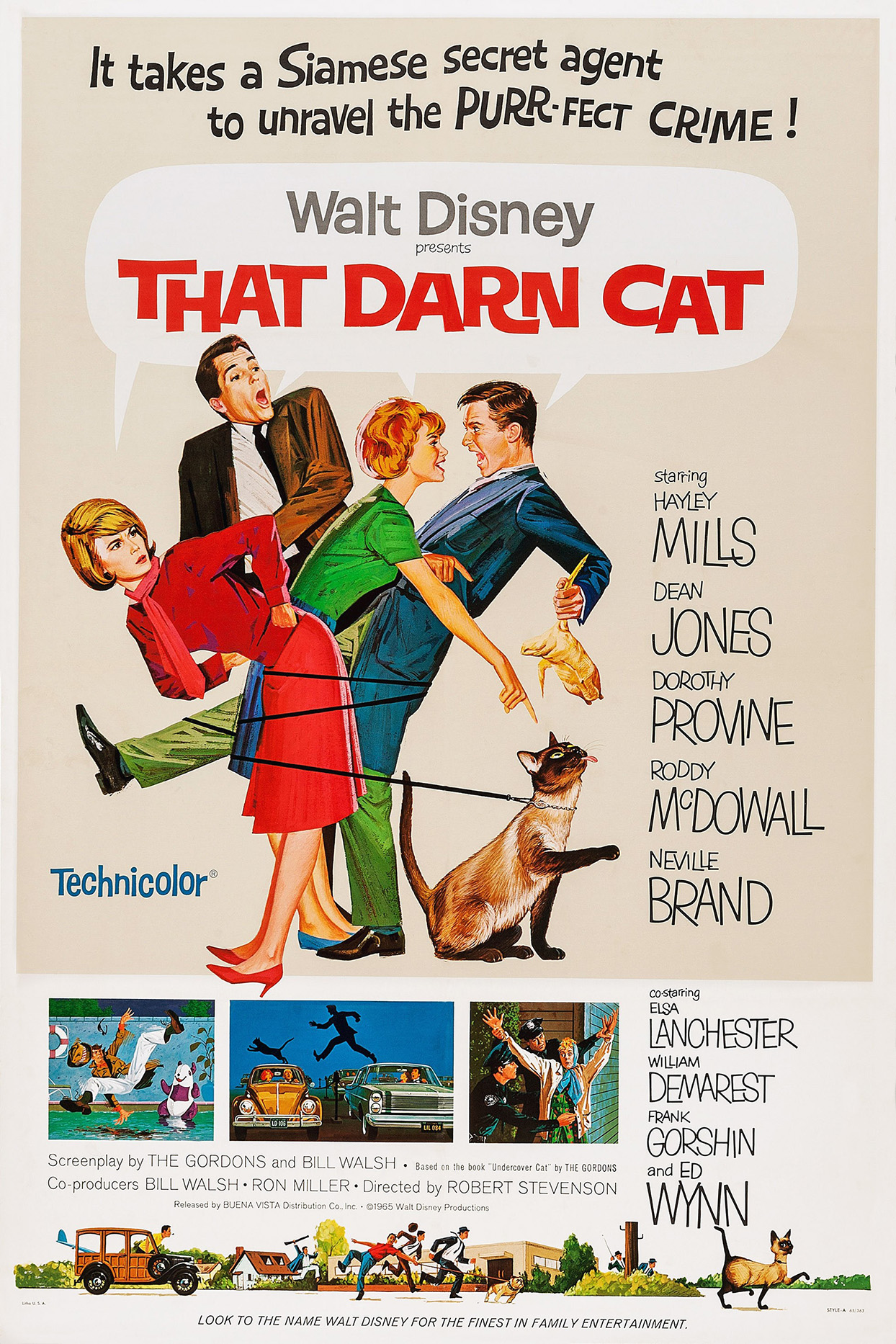 Movie poster for That Darn Cat by Walt Disney