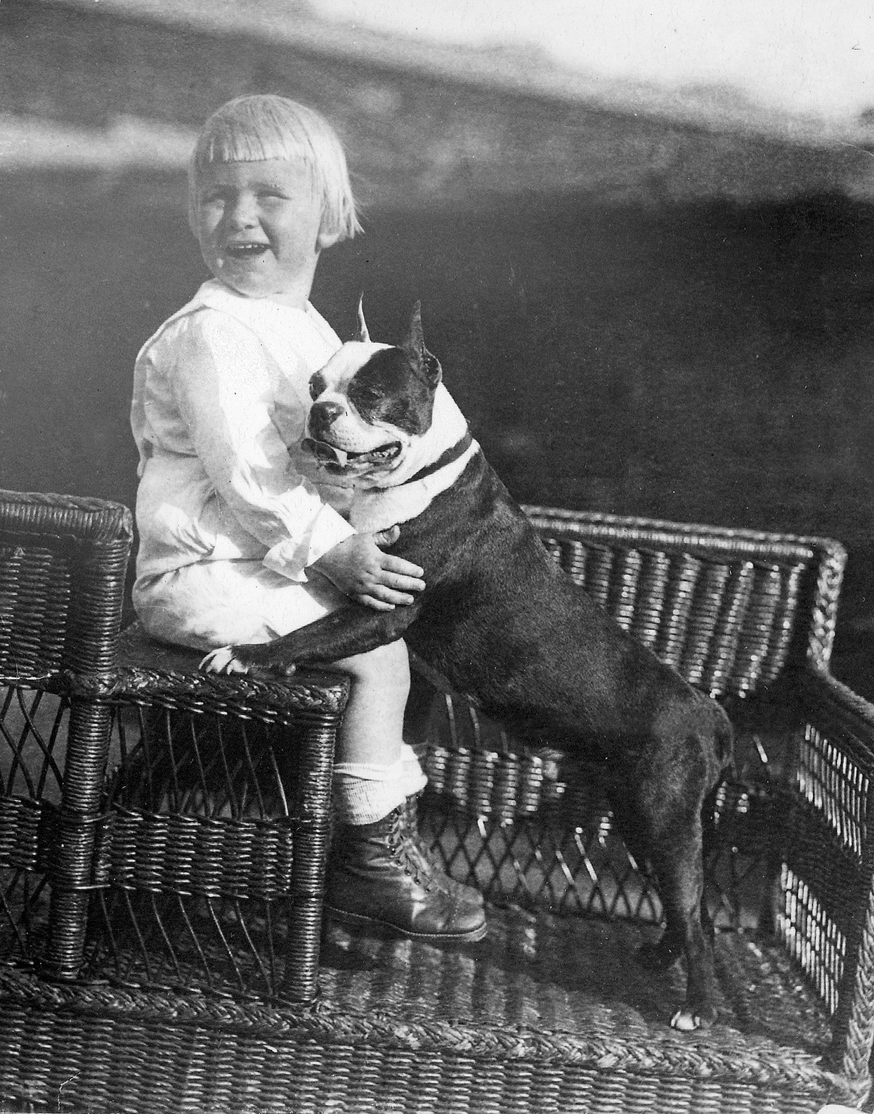 Young Gerald Ford with Boston terrier