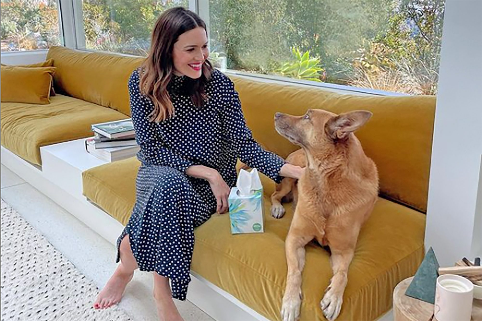 Mandy Moore at home with her dog