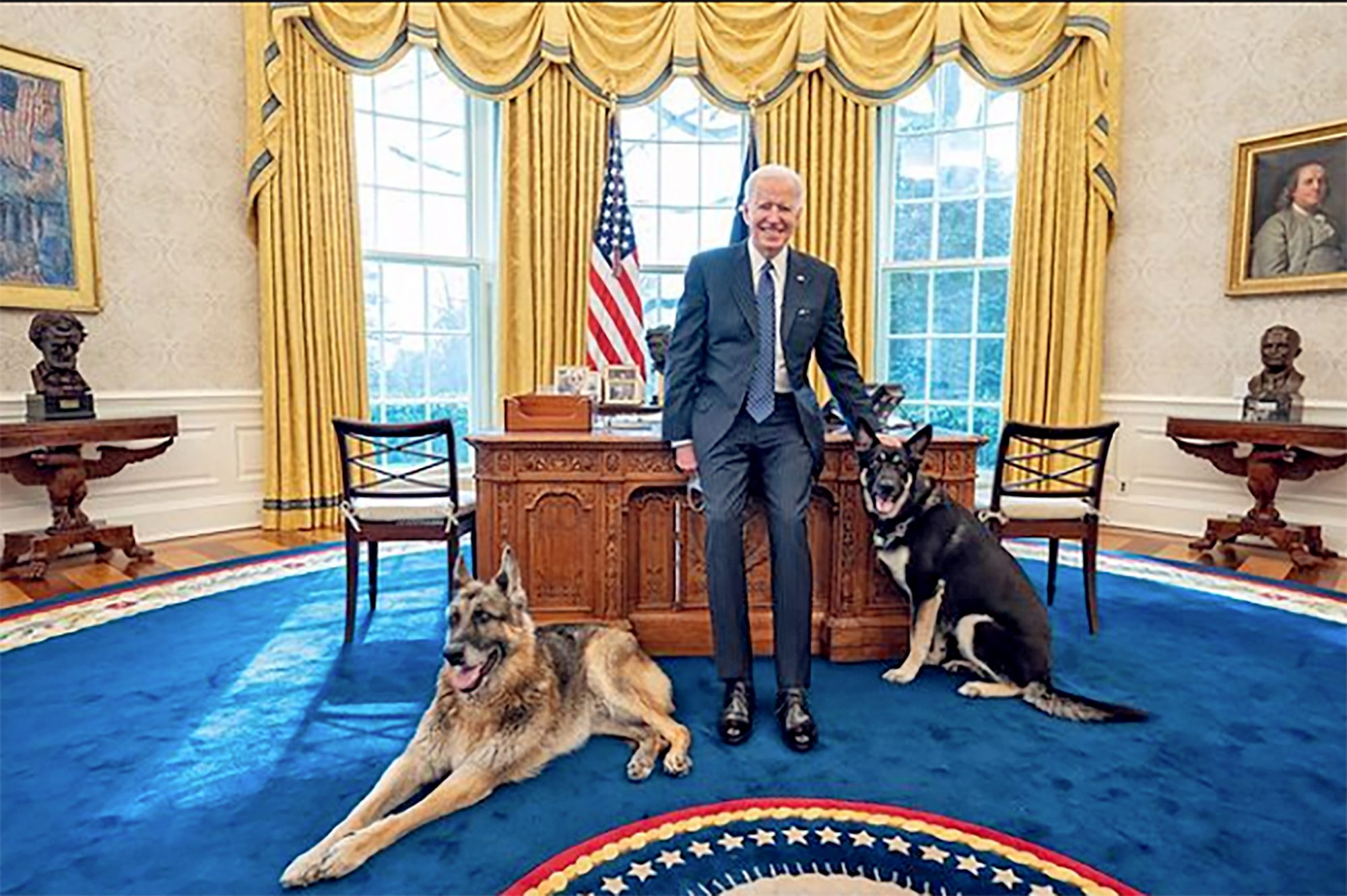 Biden with Major and Champ in the Oval Office