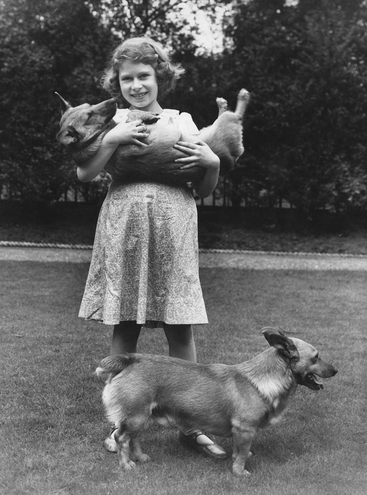 Young princess elizabeth holds corgi like a baby while another stands at her feet