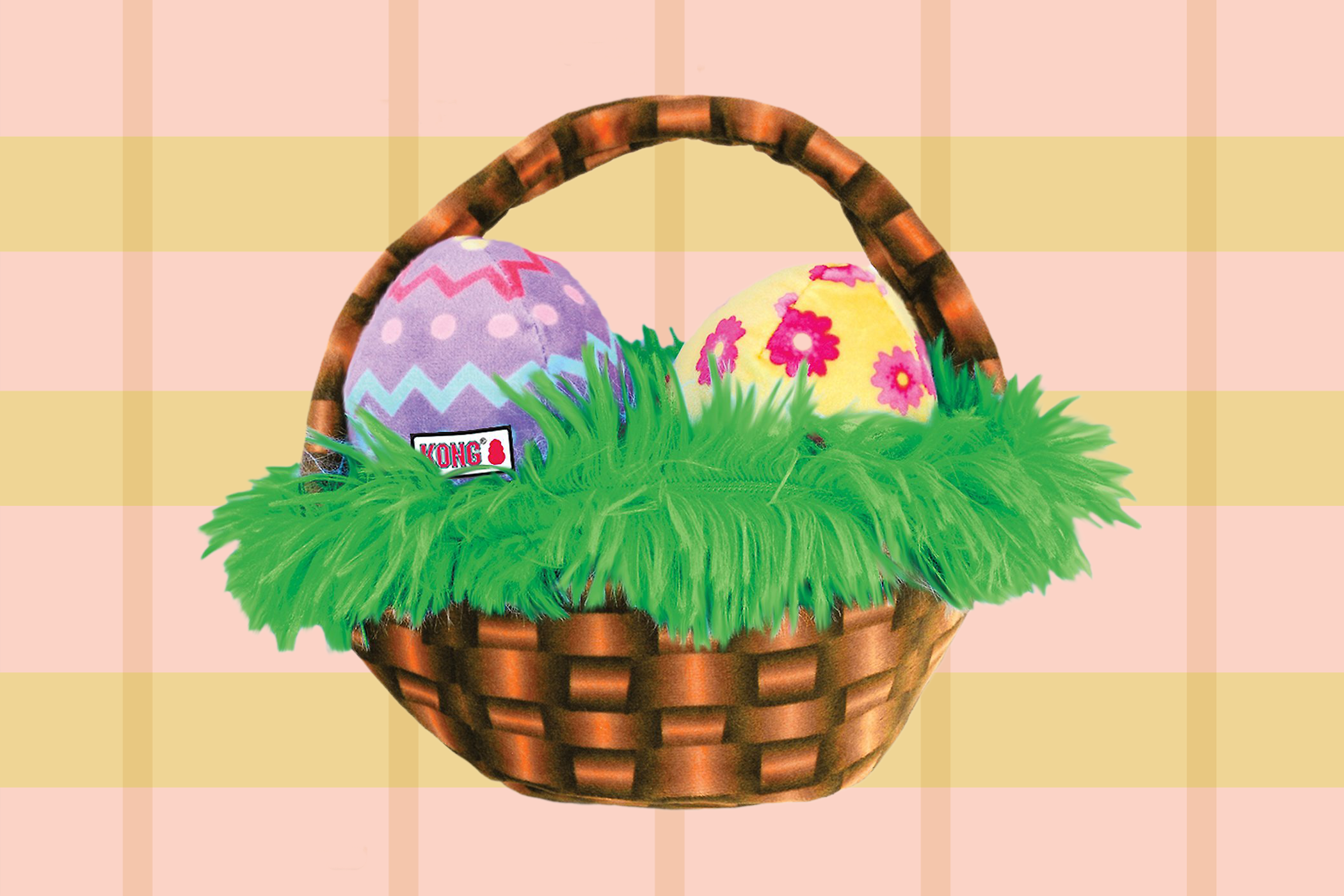 dog easter basket with plush eggs