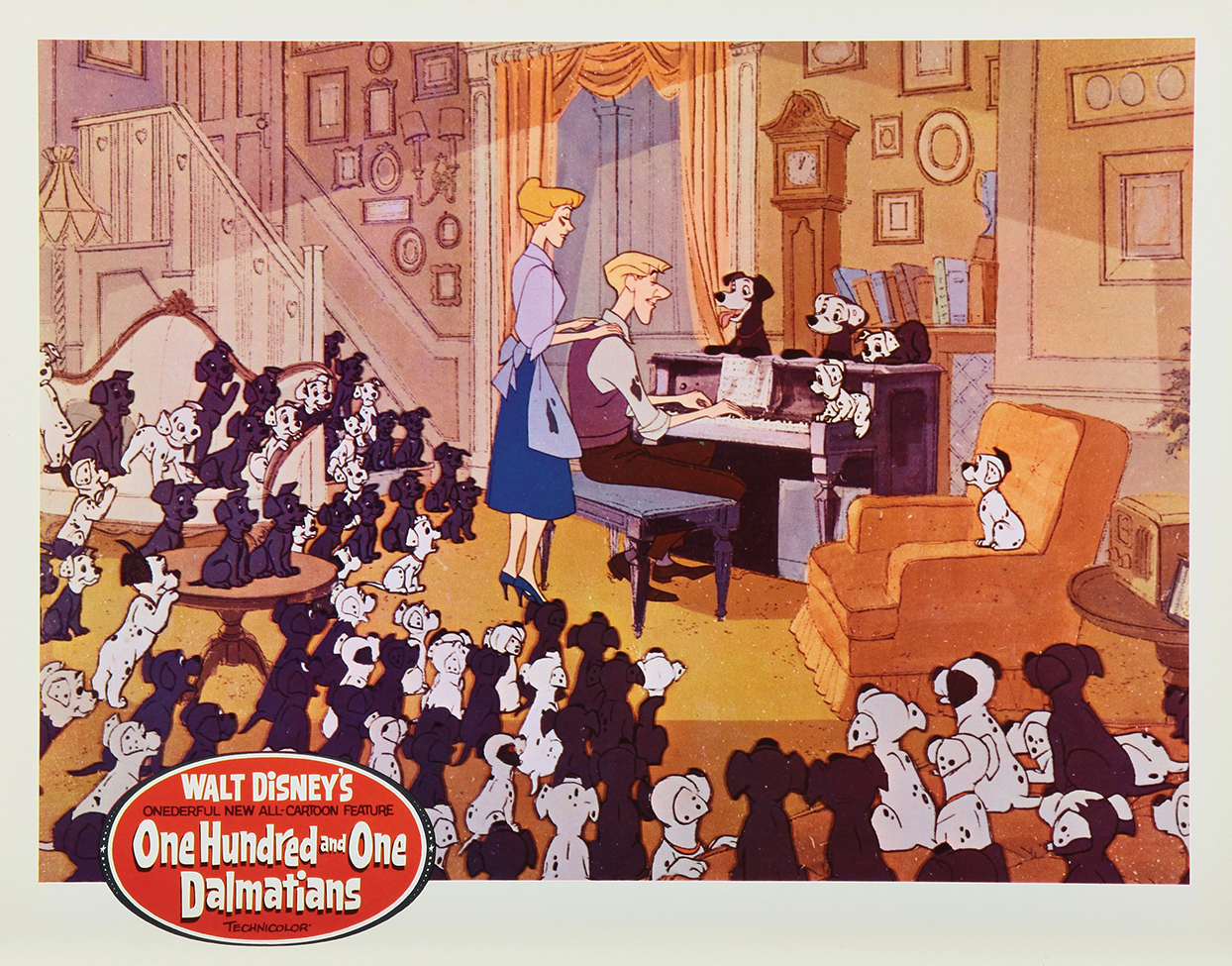 Promotional poster for the 1961 One Hundred and One Dalmatians movie where 101 Dalmatian puppies are listening to piano music