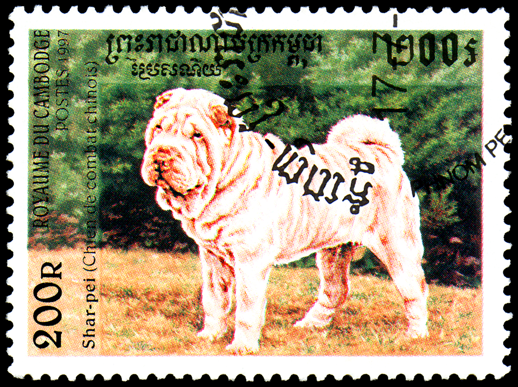 Old postage stamp with illustration of shar-pei dog featured