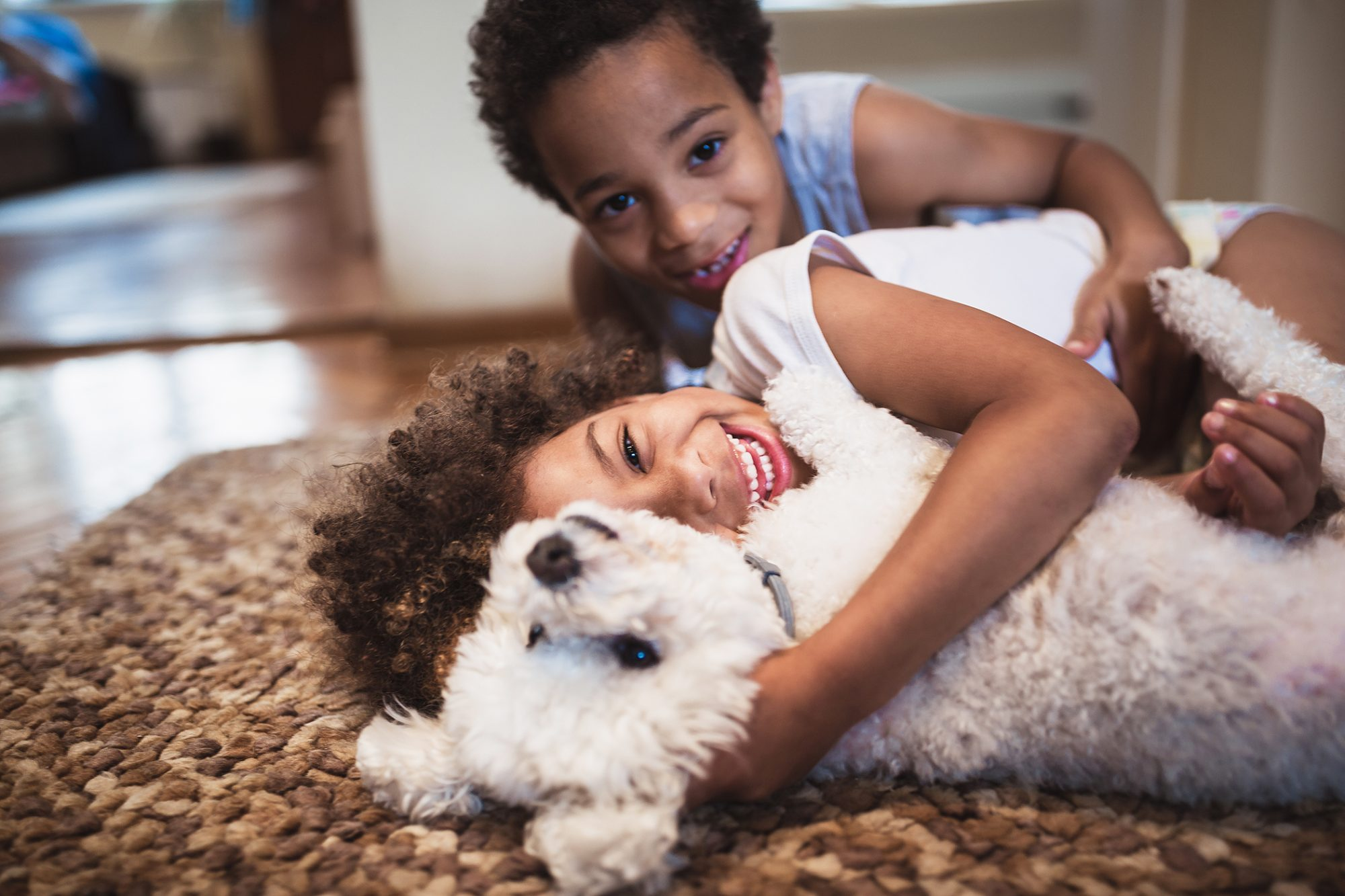 Young Black brother and sister cuddle with white small curly-haired dog on floor