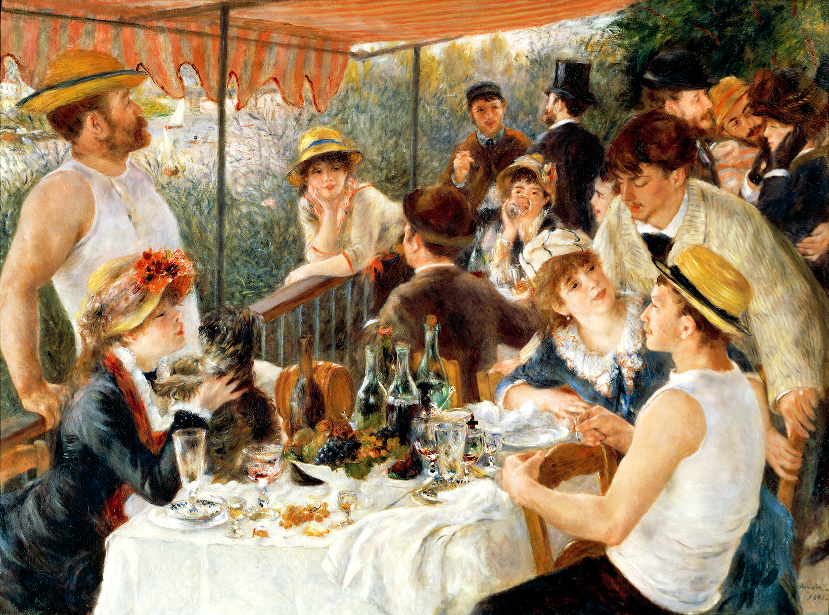 Luncheon of the boating party painting featuring affenpinscher dog