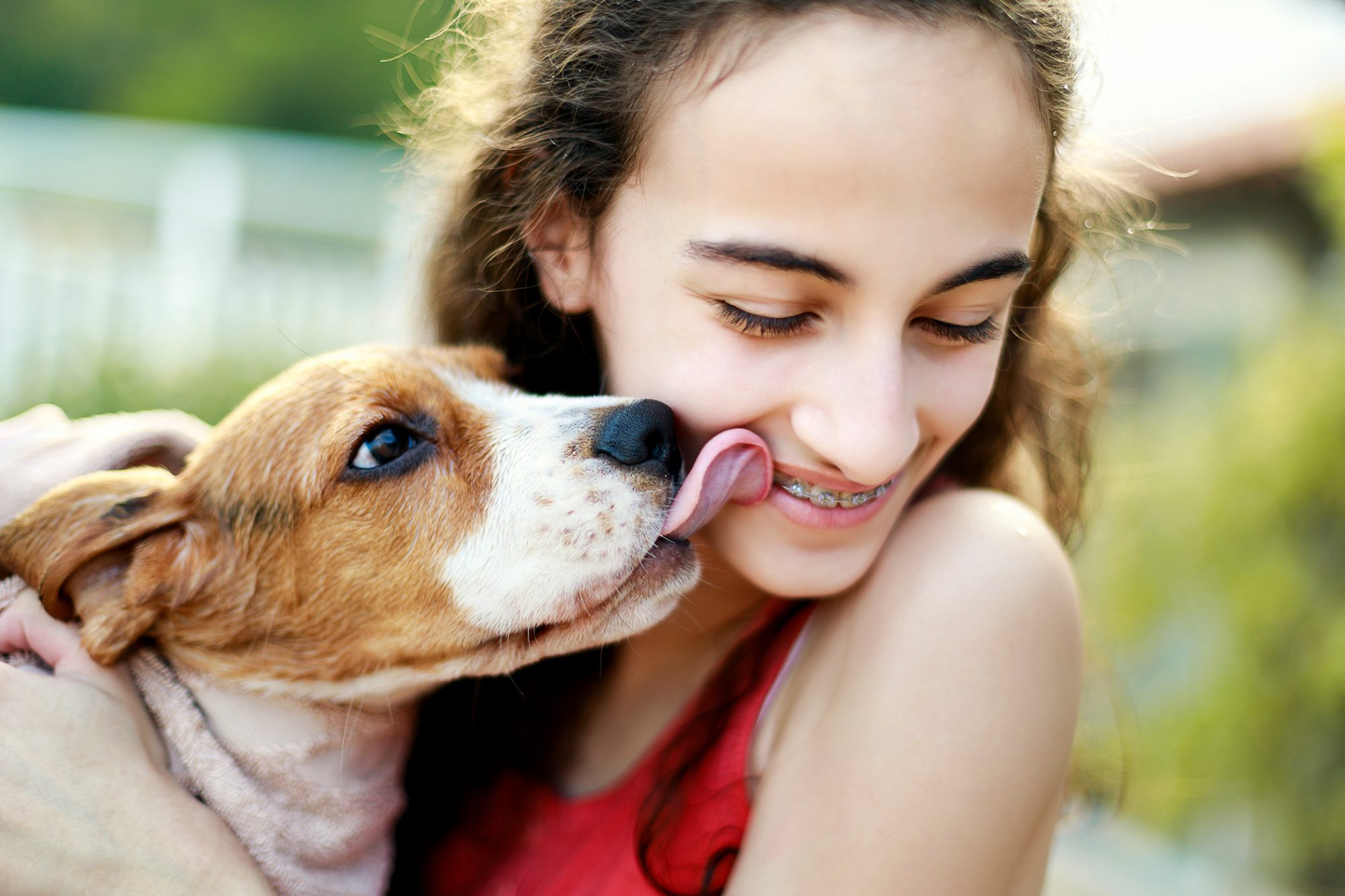 beagle kissing teen-aged girl