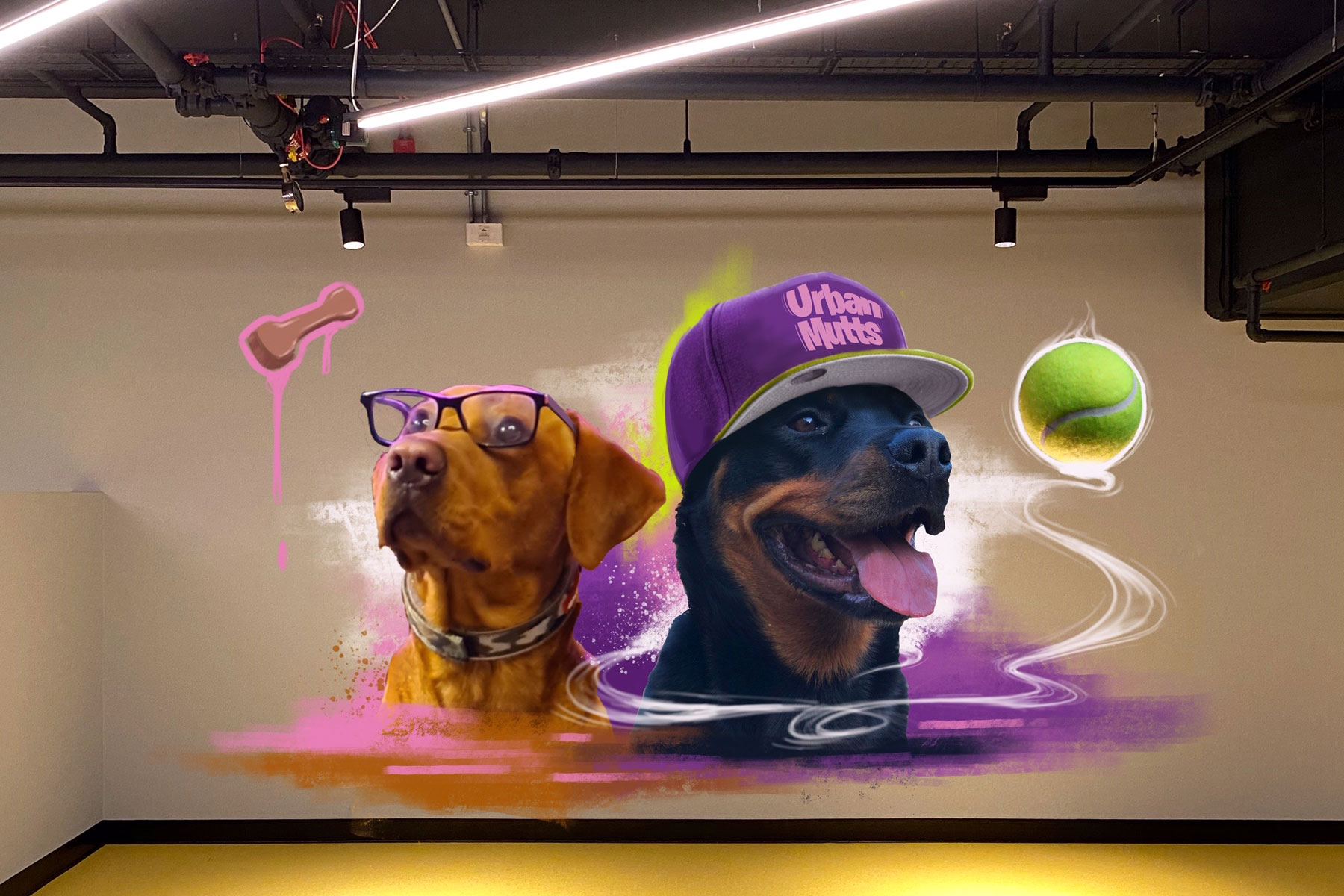 wall mural at Urban Mutts hotel