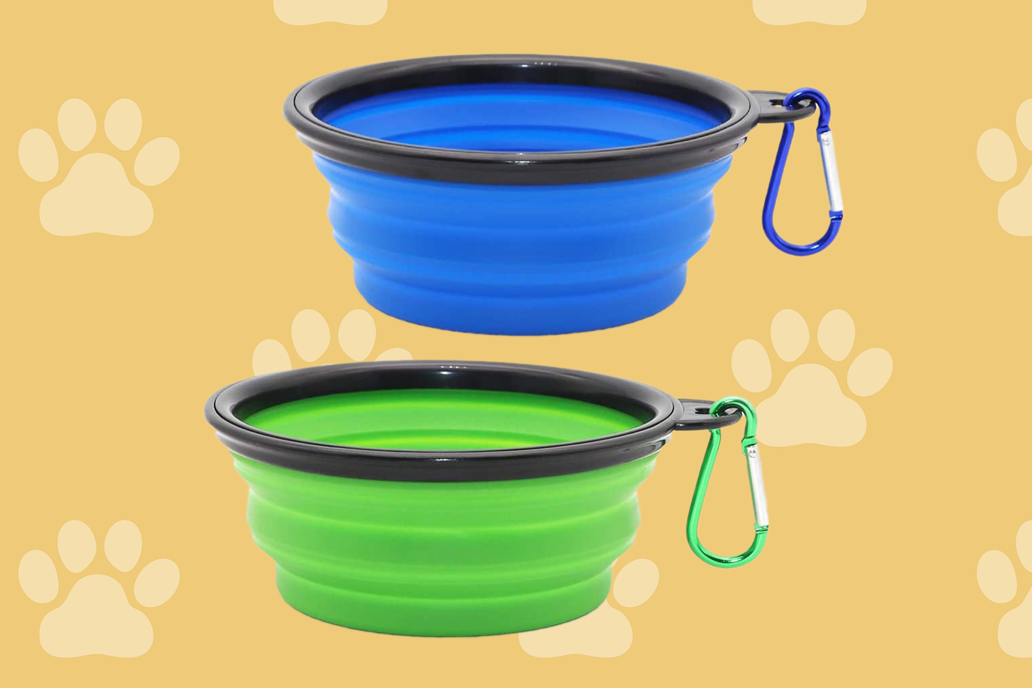 green and blue collapsible dog bowls