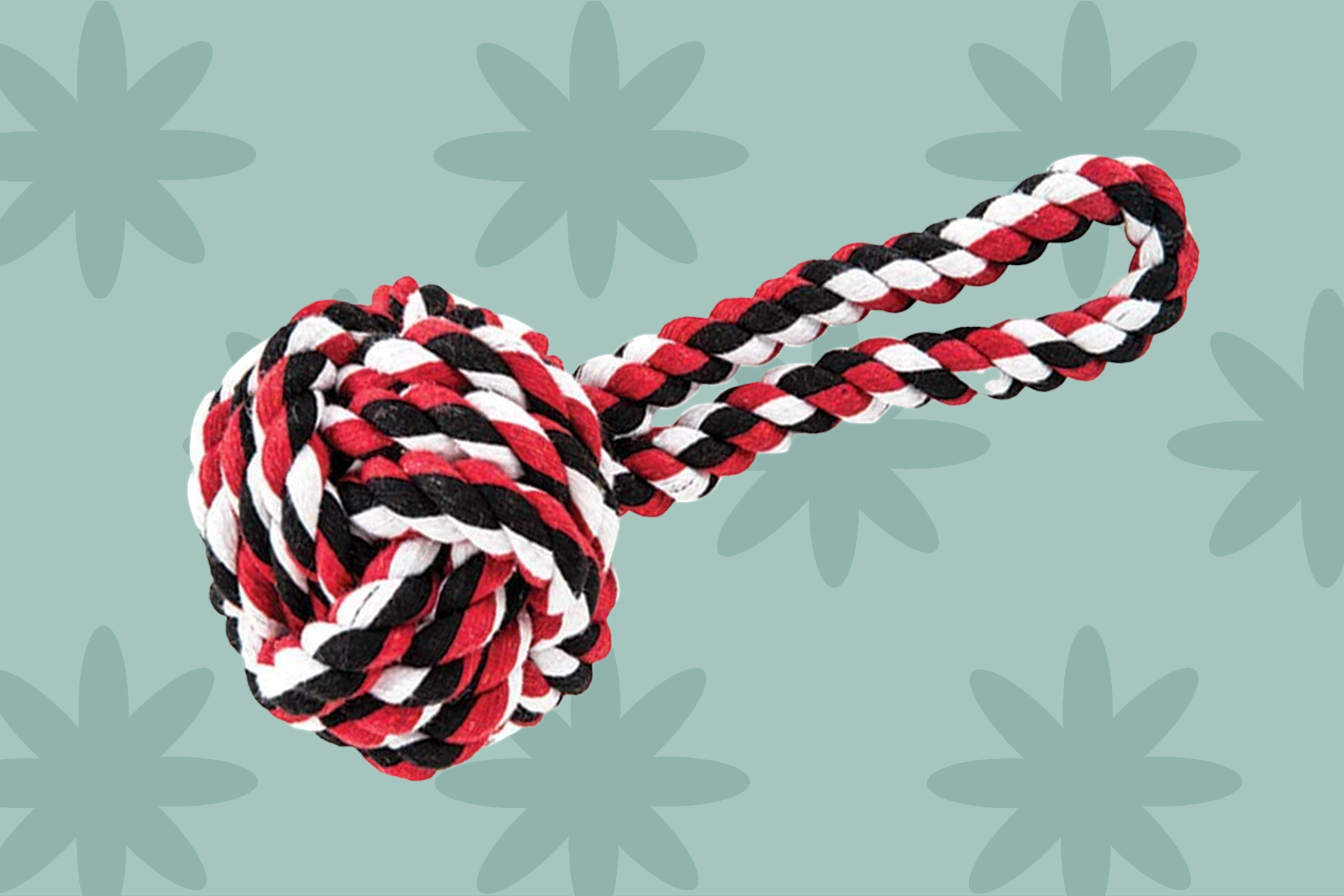 red, black, and white dog toy rope