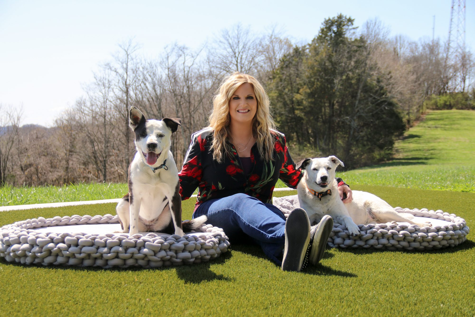 Influencer Trisha Yearwood is flanked on both sides by adult dogs on dog beds outdoors on lawn