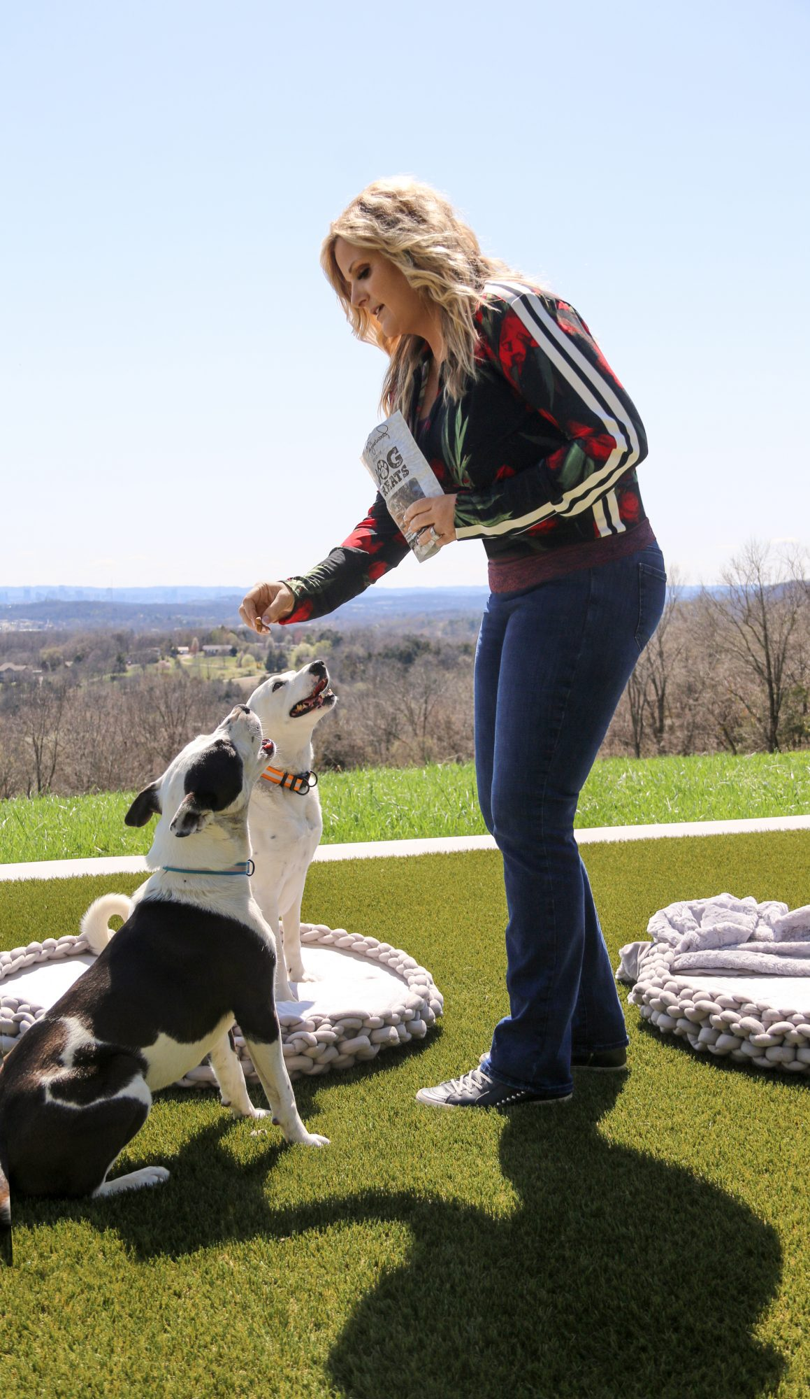 Influencer Trisha Yearwood feeds treats to two adult dogs outdoors