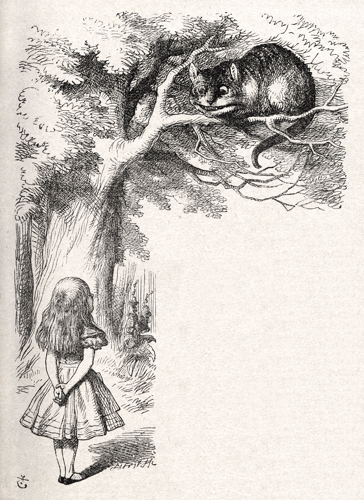 Drawing from Alice in Wonderland of Cheshire cat in tree
