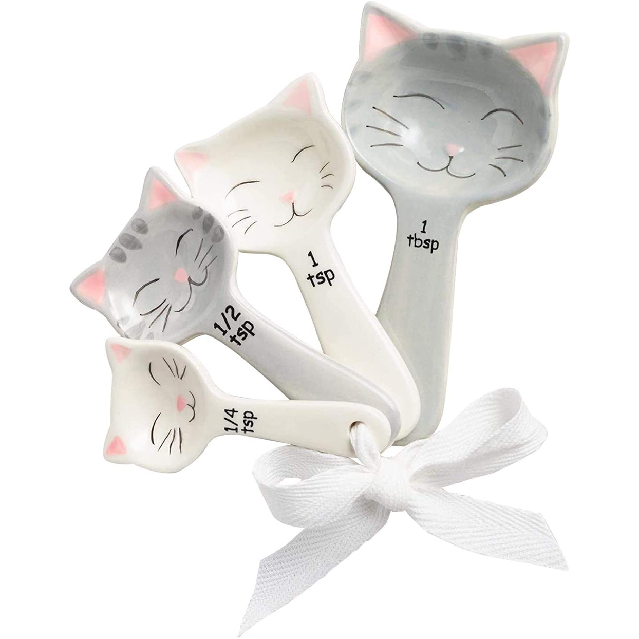 Cat shaped ceramic measuring spoons