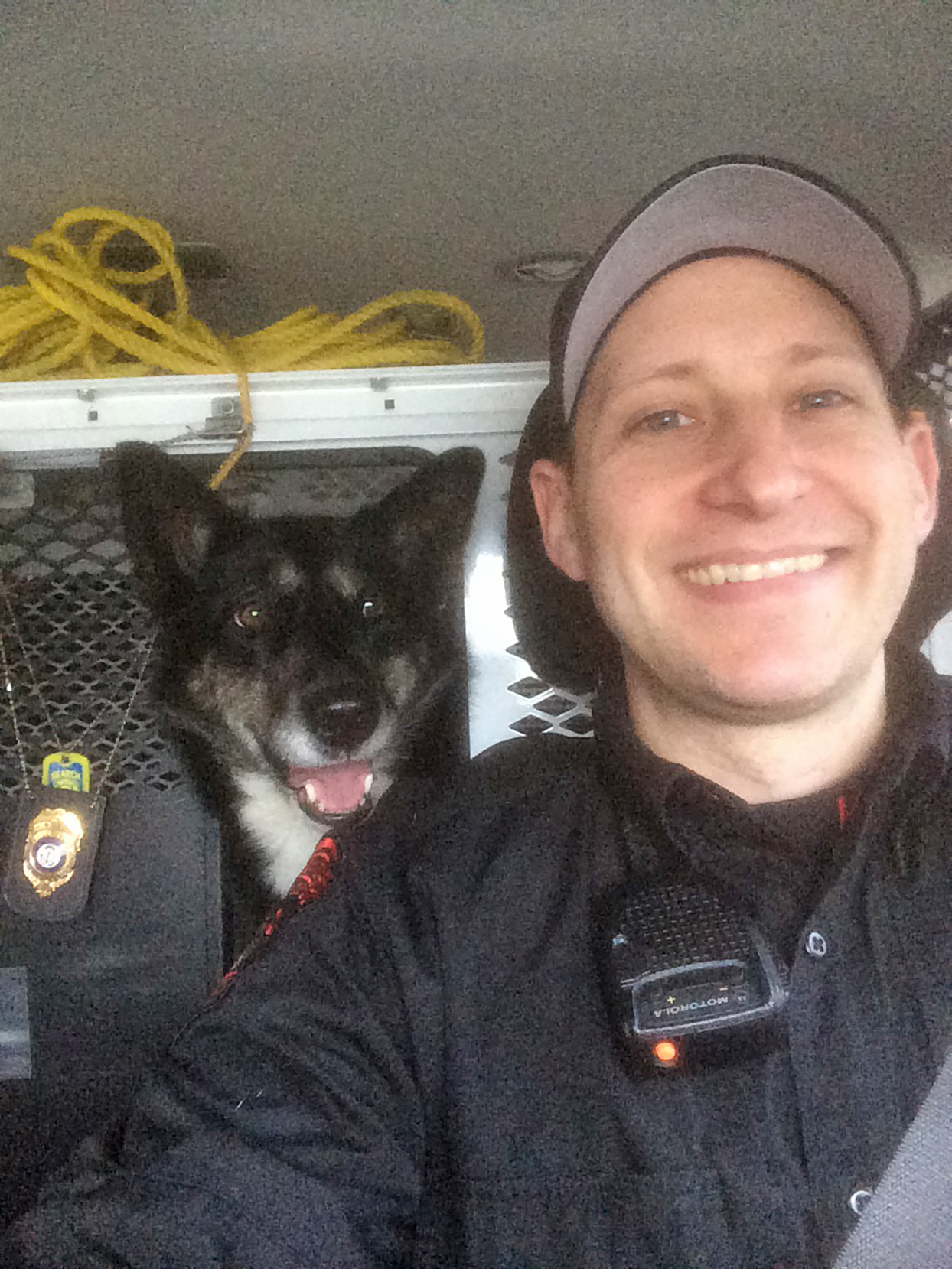 Ruby with Corporal Dan in vehicle